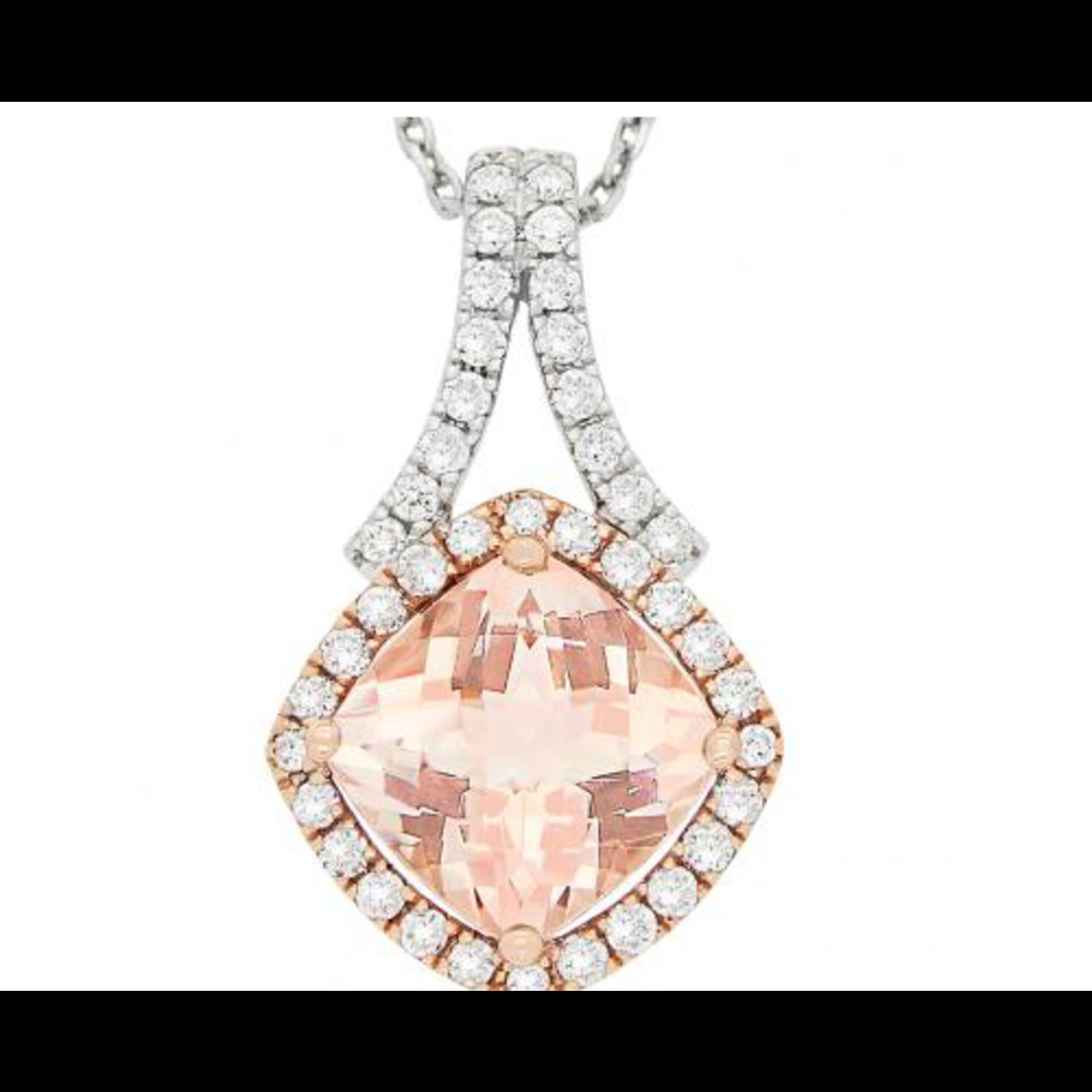 "14K Rose & White Gold Morganite 2.17ct & Diamond 0.43ctw Pendant 16-18"""