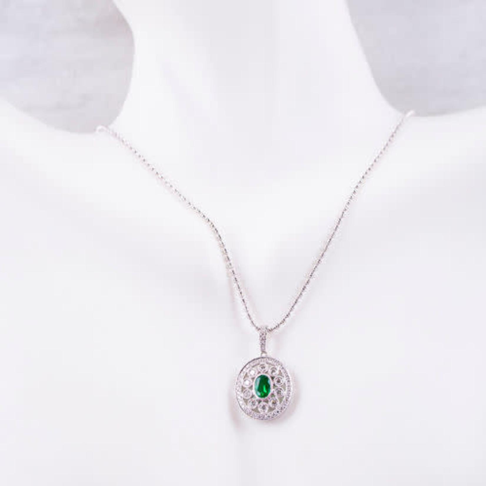 "18KW Gold Filigree Oval Emerald  0.36ctw & Diamond 0.47ctw Necklace 16"""