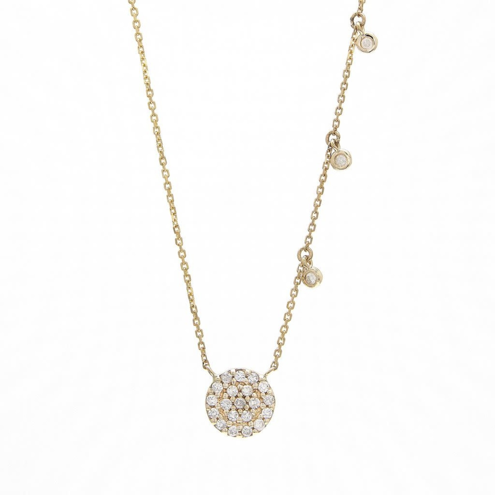 """14K Yellow Gold  0.25CT Diamond Pave Disc Necklace 16-18"""""""