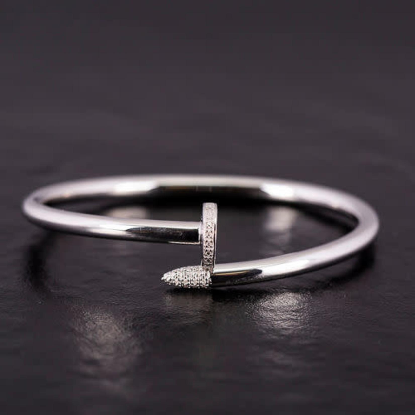 Sterling Silver Diamond 0.05ctw Nail Bangle