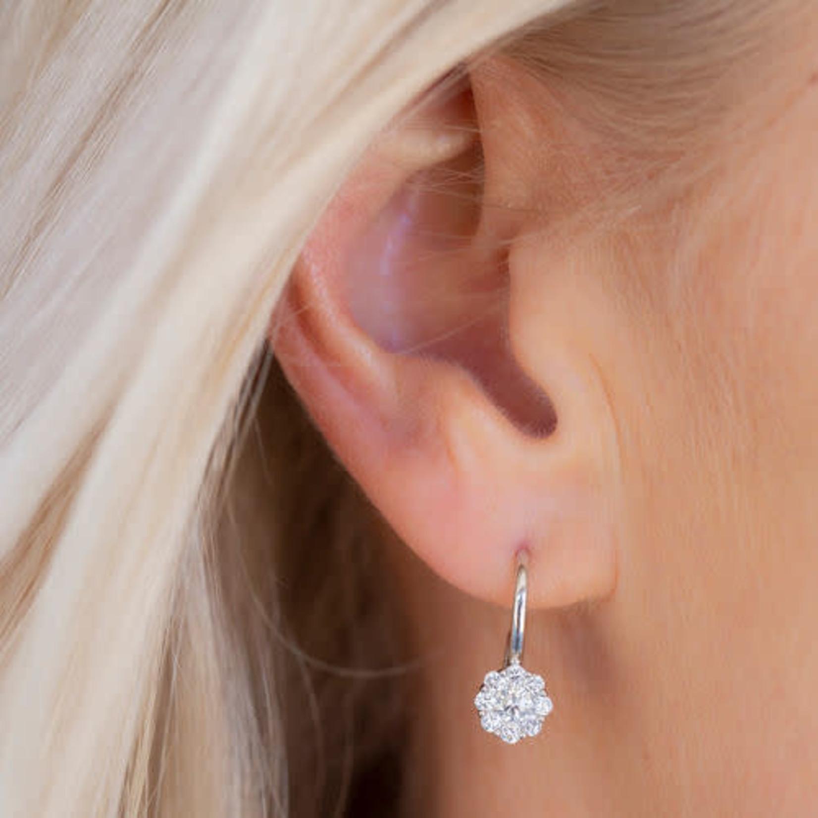 14K White Gold Diamond Cluster Stud Drop Earrings 0.75ctw