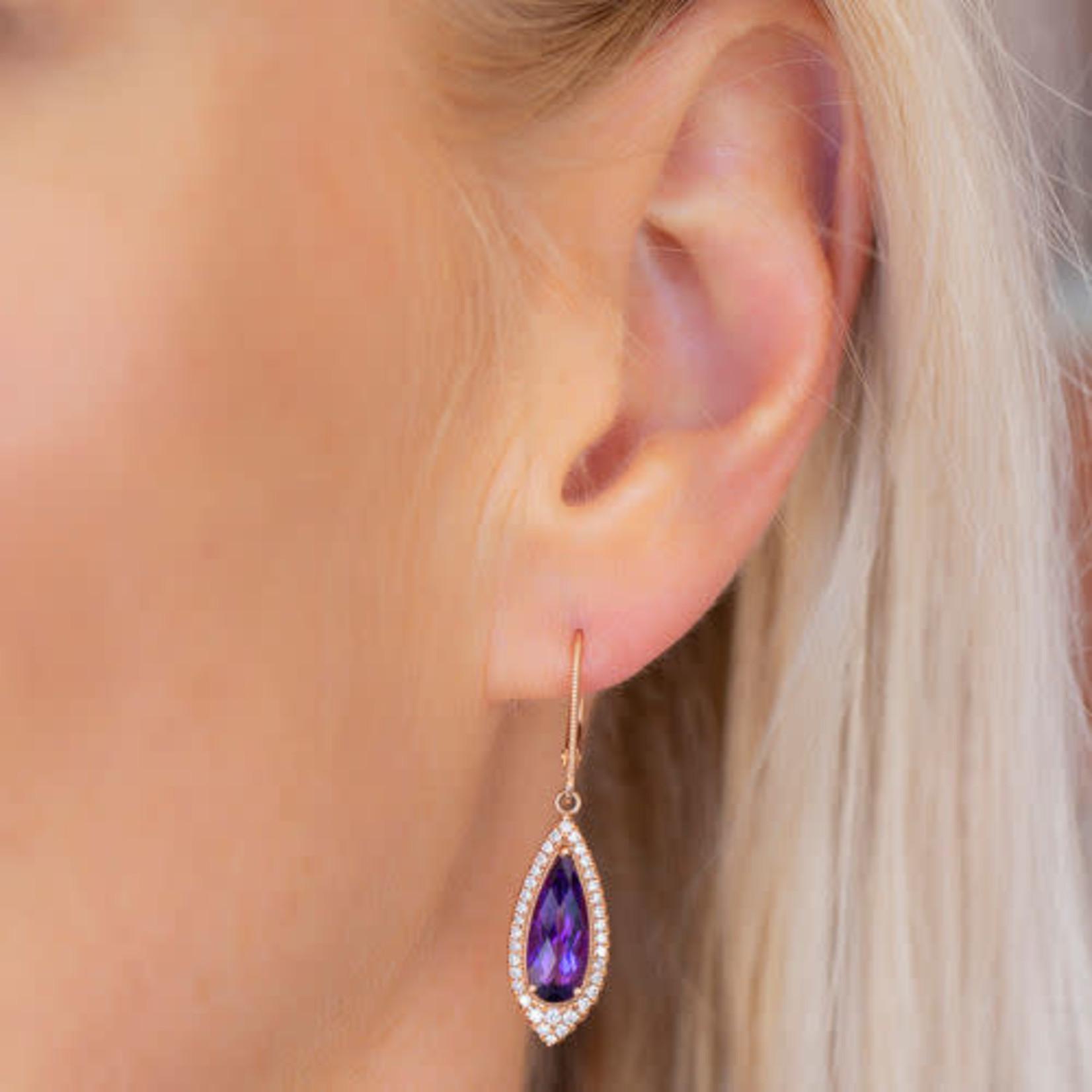 14K Rose Gold Amethyst 2.95ctw & Diamond 0.41ctw Drop Earrings