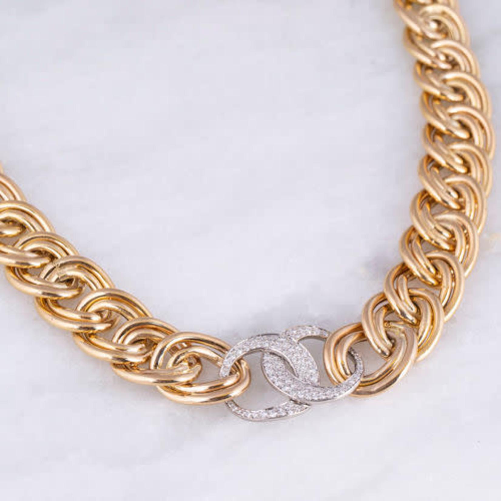 "14K Platinum Curved Link Diamond 1CTW Crescent Necklace 18"""