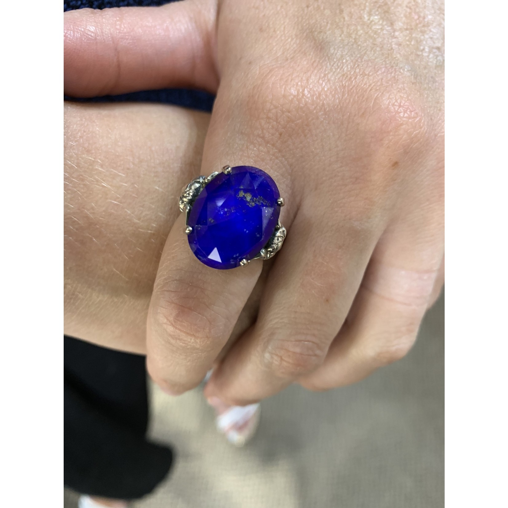 Sterling Silver Lapis Doublet Medusa Ring