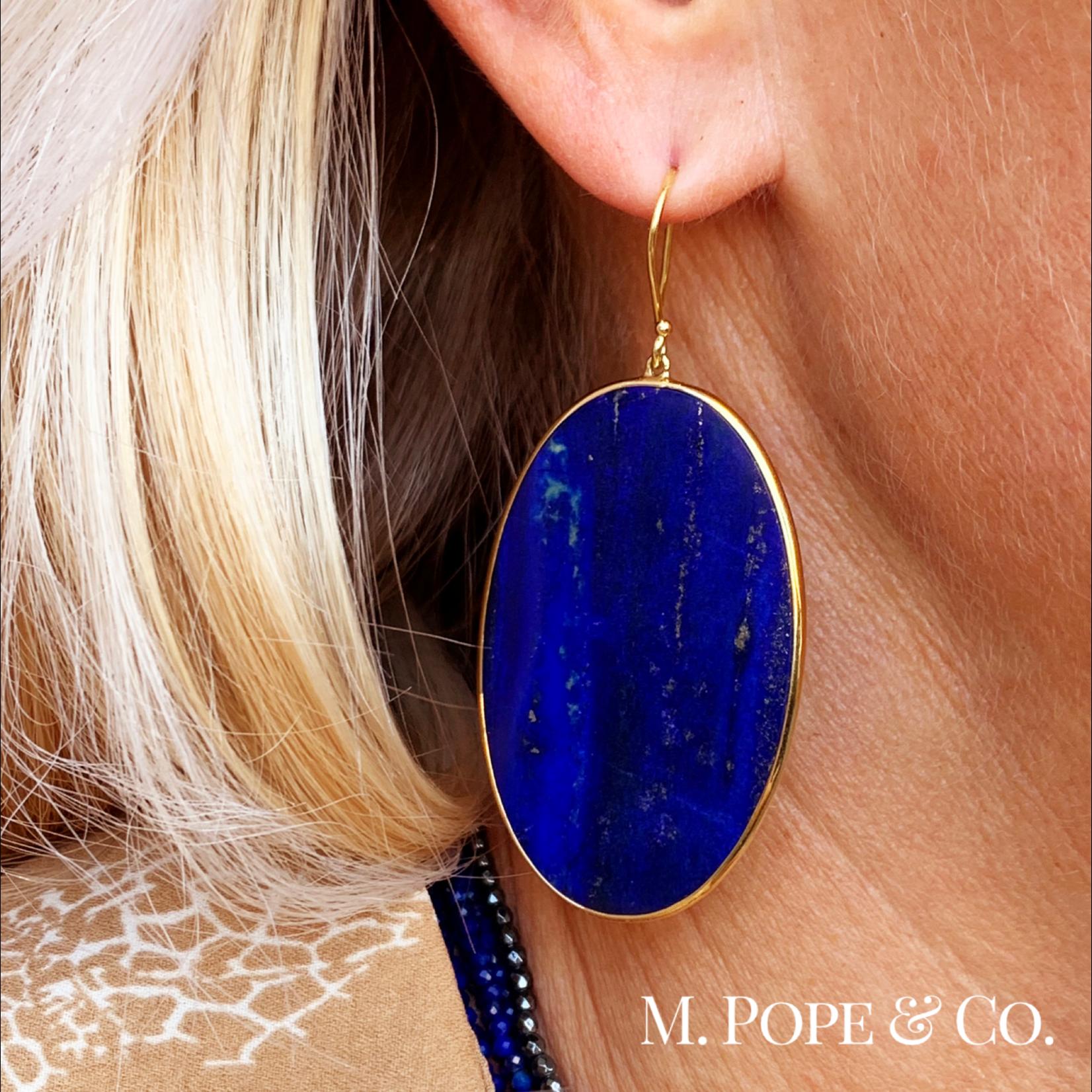 18KY Gold Oval Lapis Slice Drop Earring