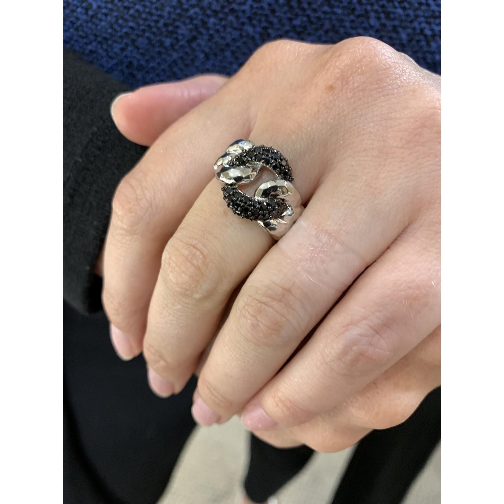 Sterling Silver Pave Black Spinel Link Ring Size 7