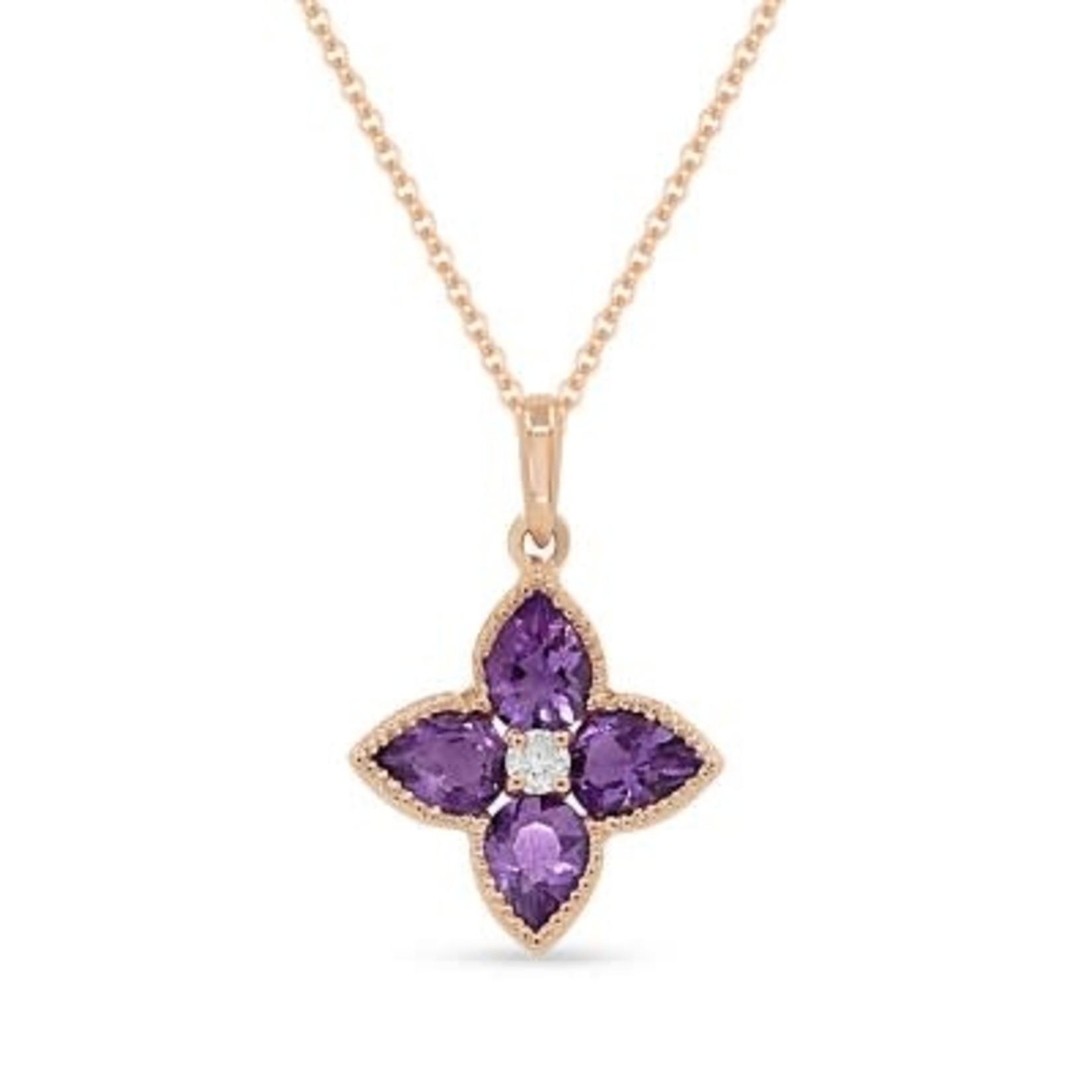 """14K Rose Gold Amethyst Diamond Flower Pendant 16"""""""