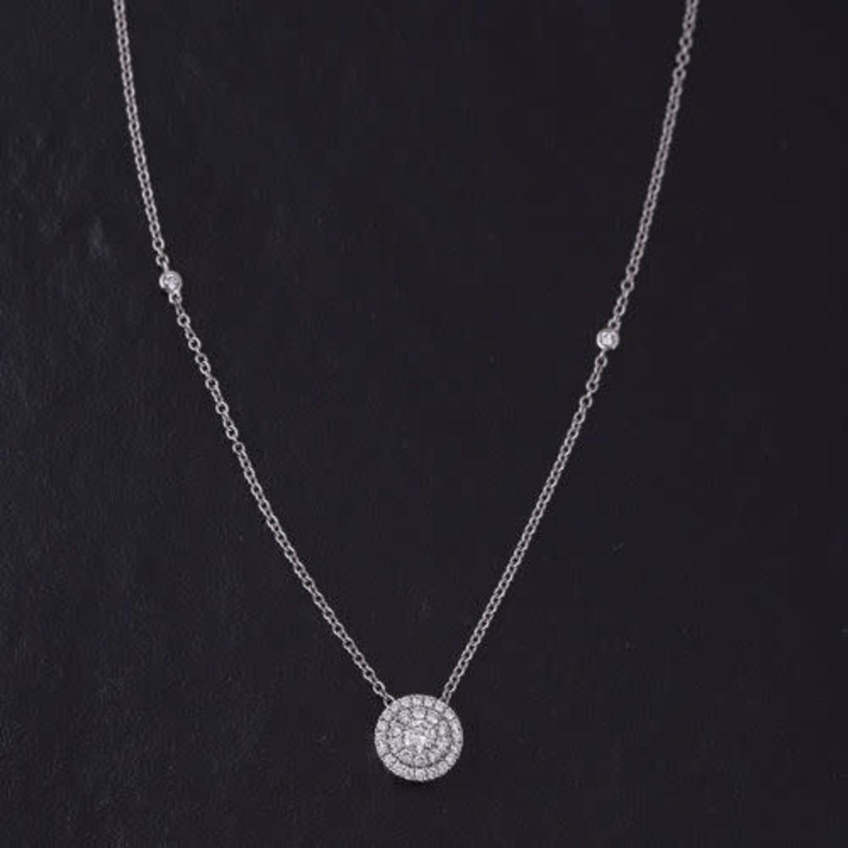 "14KW Diamond Cluster Necklace 0.73ctw 16-17-18"" Chain"