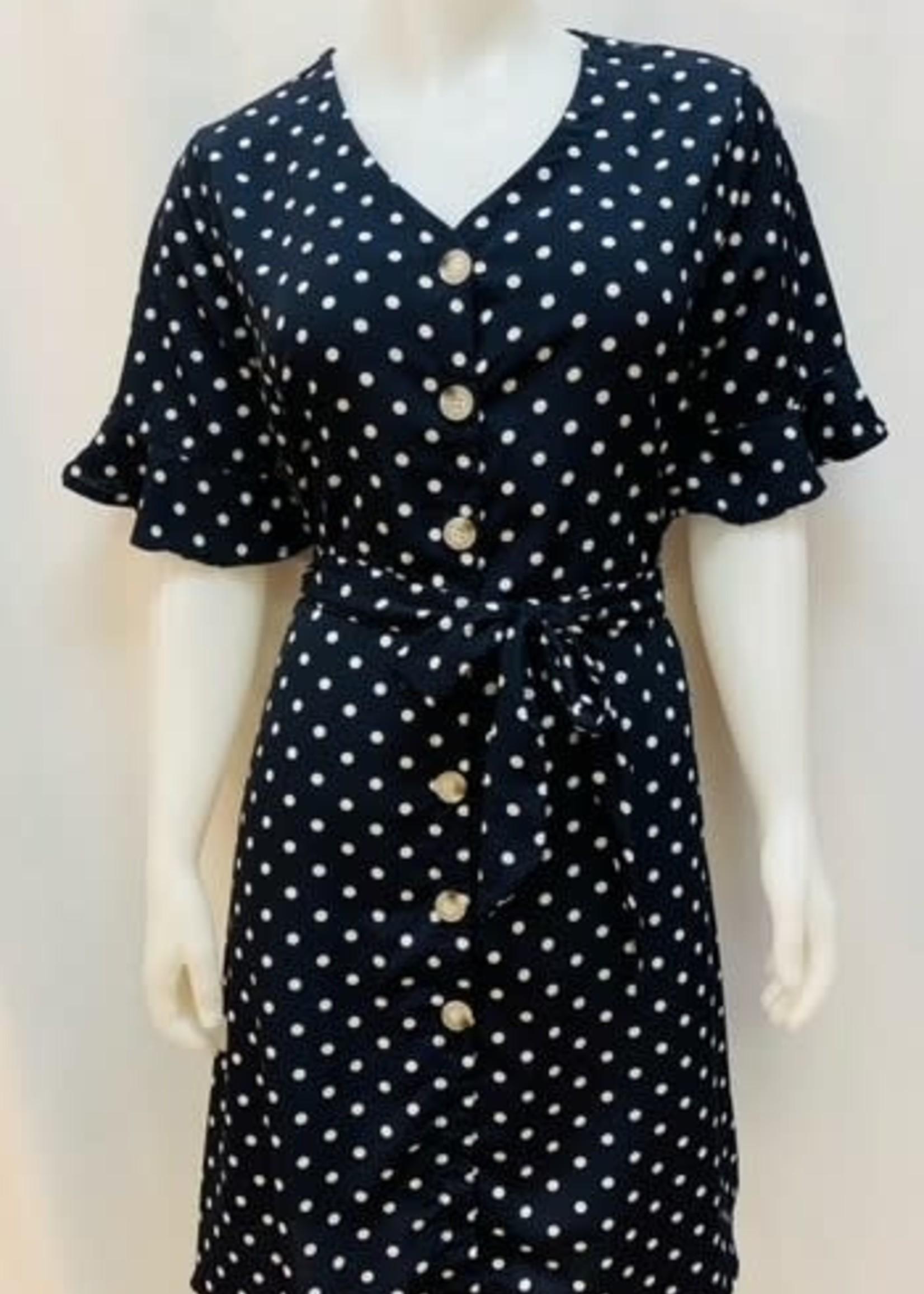 EnKay Short Sleeve button dot dress