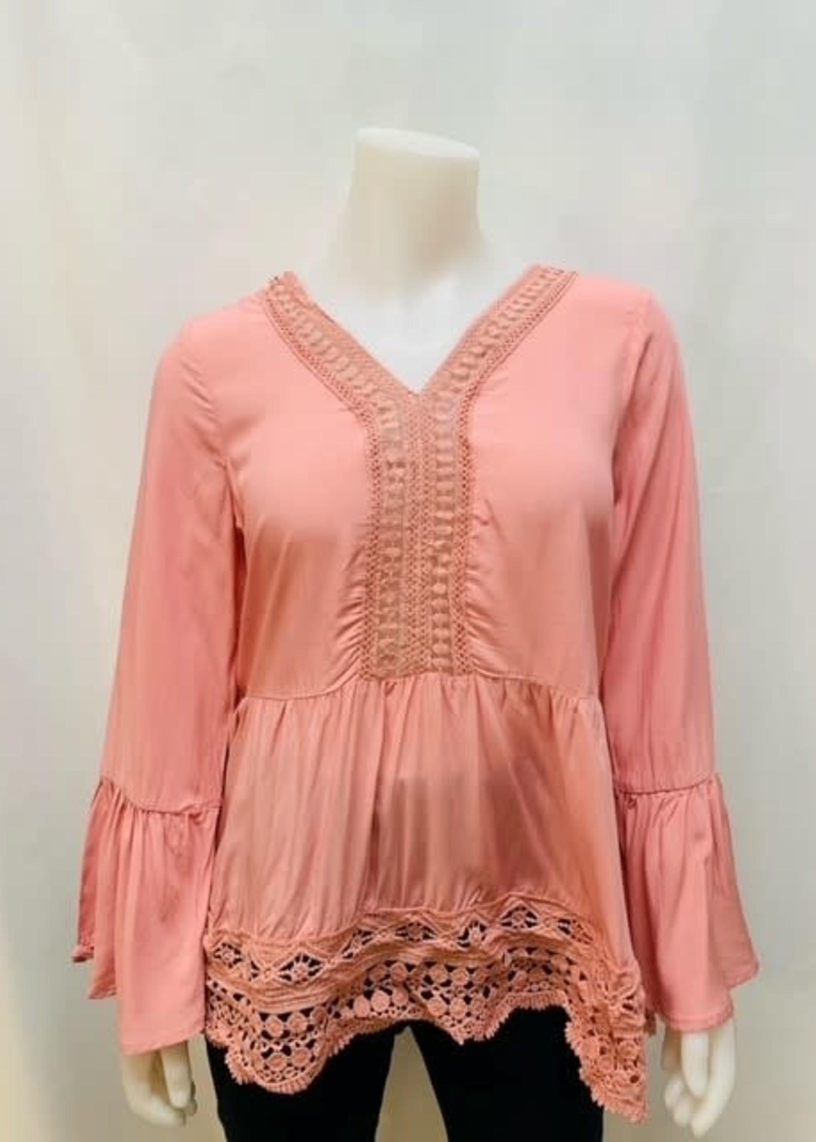 EnKay V neck bell long sleeve blouse