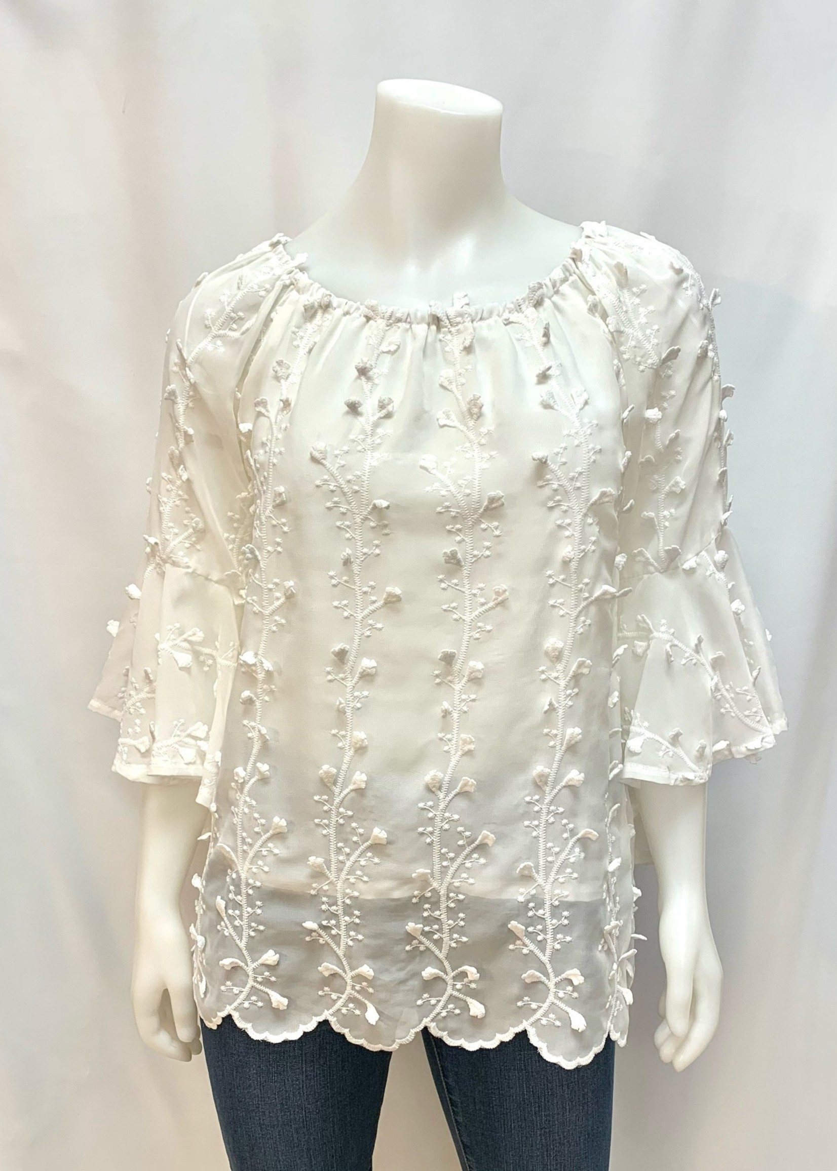 Papillon White Embroider Blouse