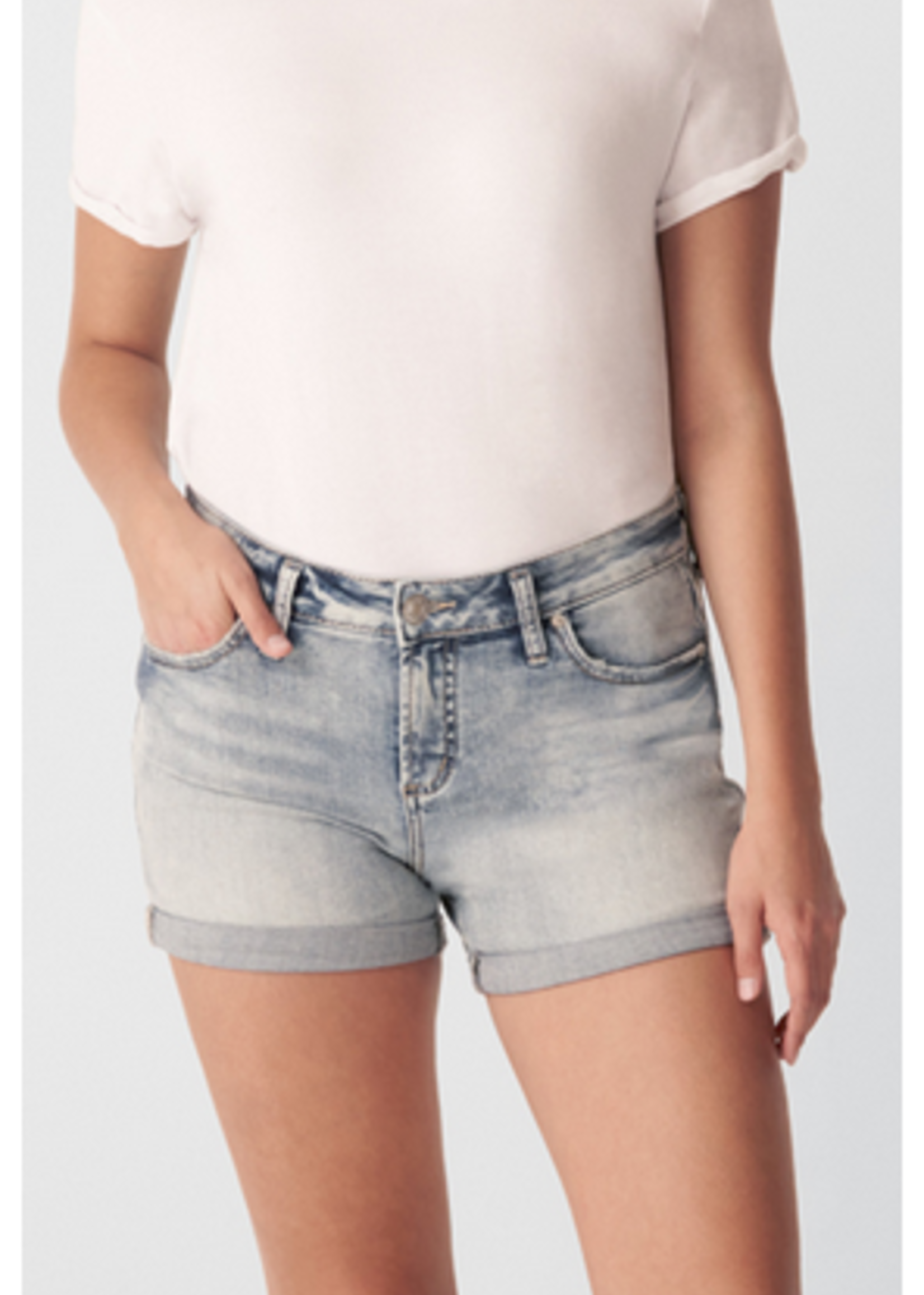Silver Elyse curvy fit mid rise shorts