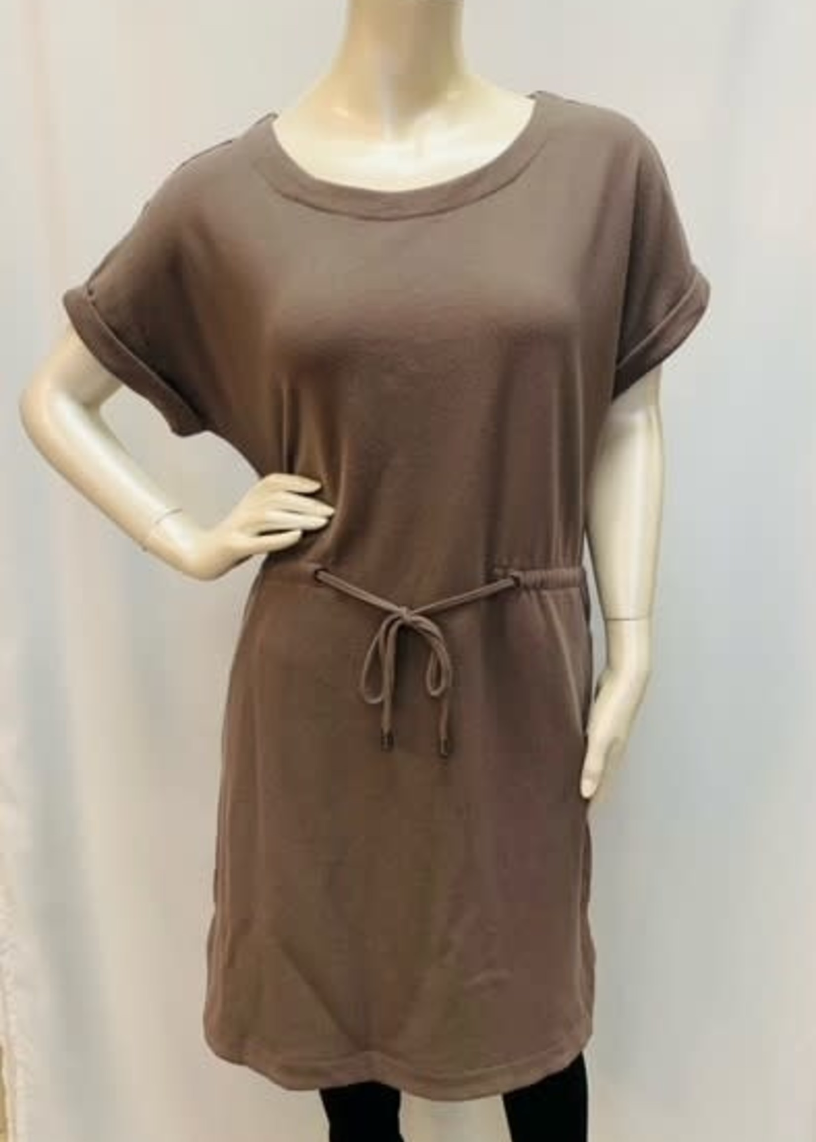 DKR & Co Short sleeve sweater dress with tie waist
