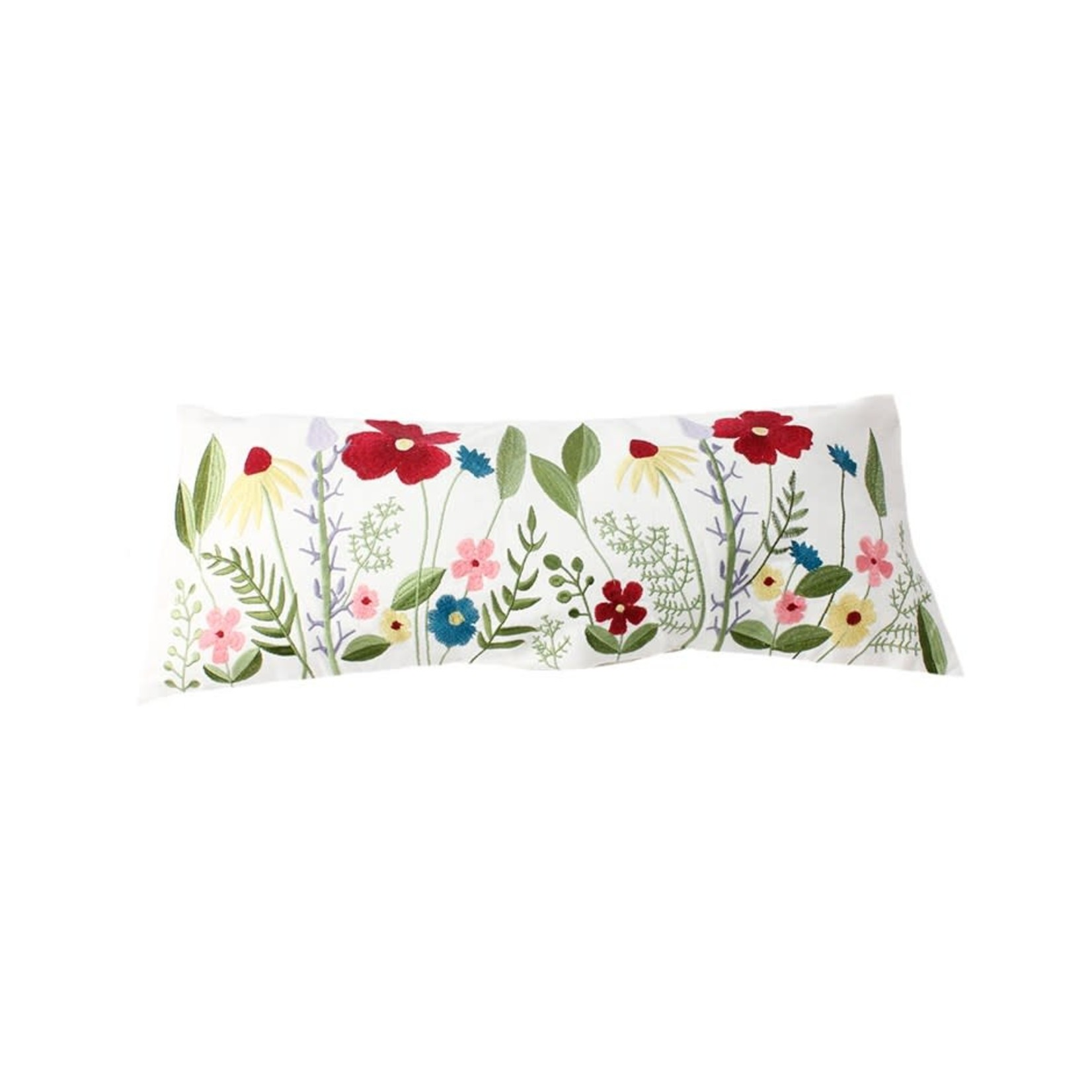 Embroidered Flowers Lumbar Pillow
