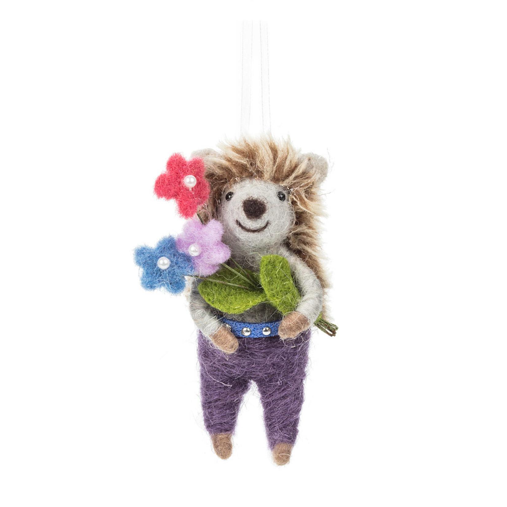 Hedgehog Holding Flower Bouquet