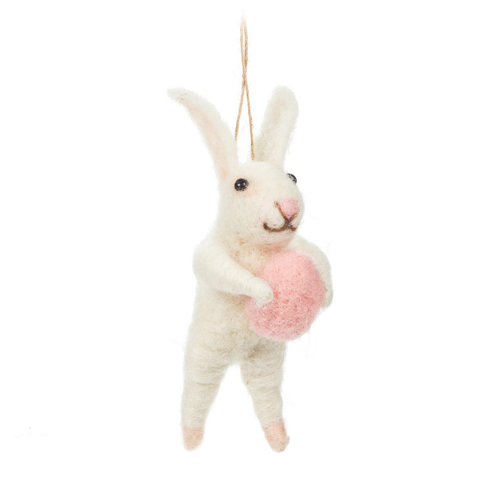 Rabbit w/Egg Ornament