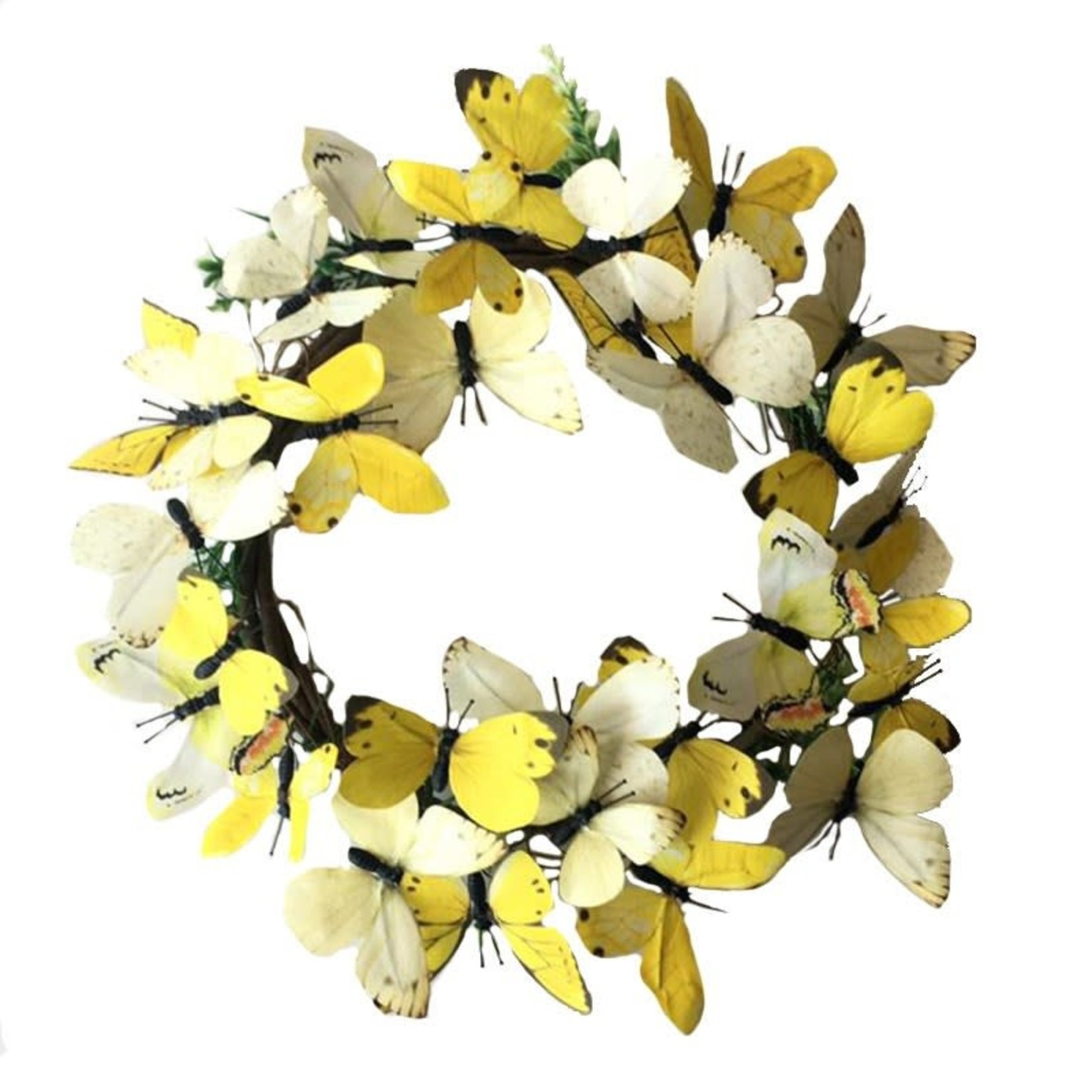 Paper Yellow Butterfly Wreath - Large
