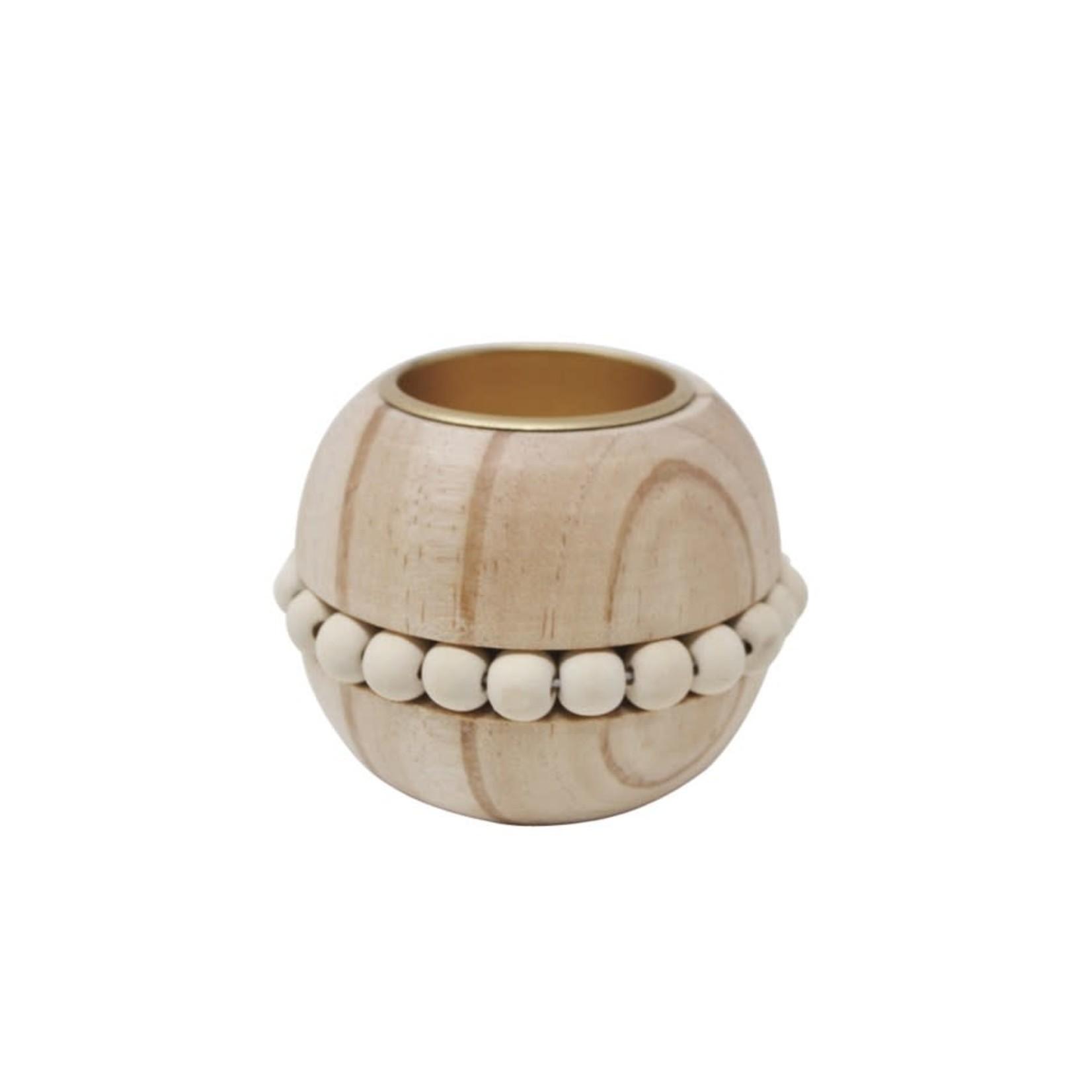 Wooden Tlight Holder w/ Beads