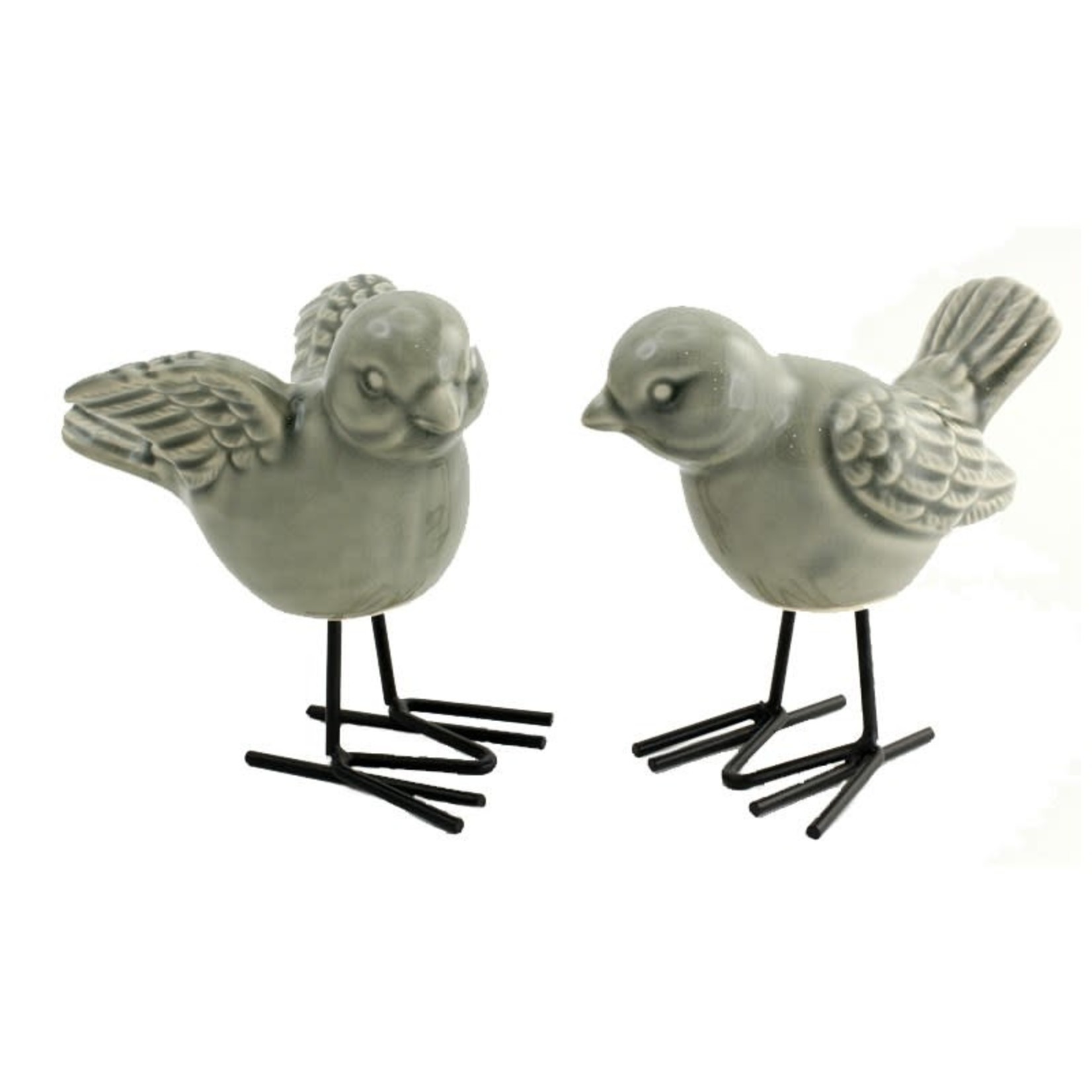 Bird w/Metal Feet - Grey
