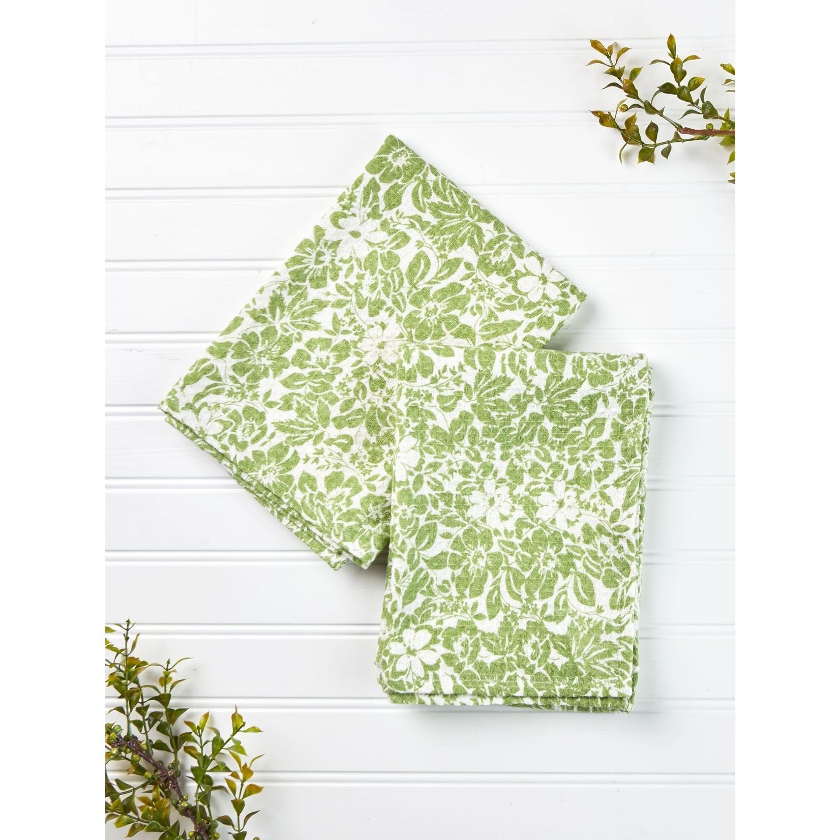 April Cornell Madison Flower Tea Towel - Green