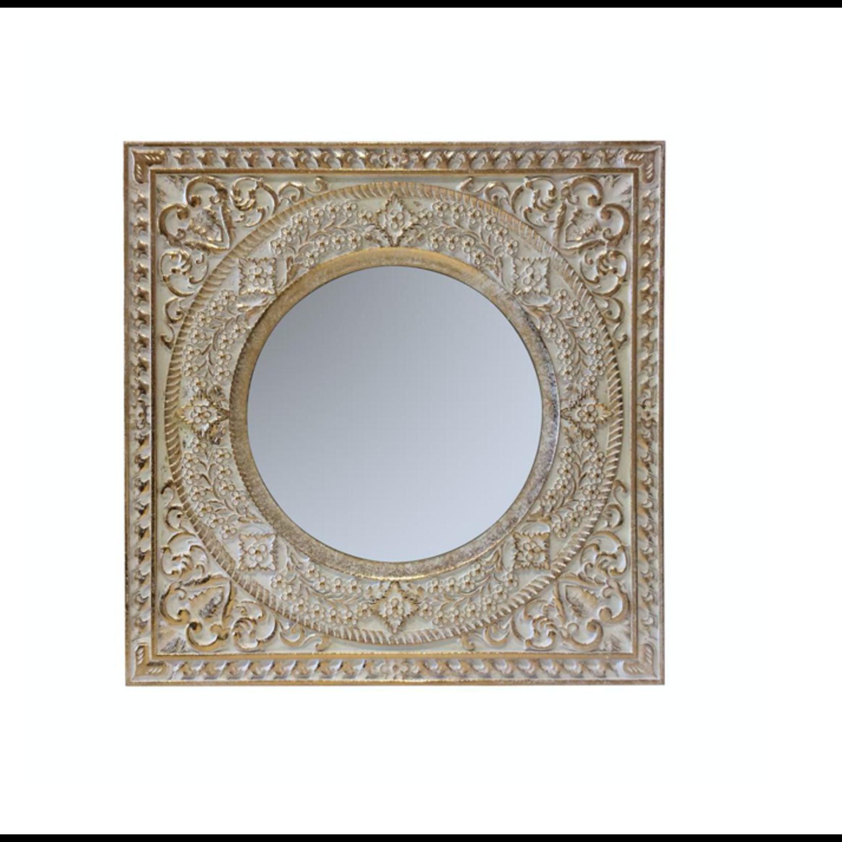 Beige Wood Antiqued Floral Mirror