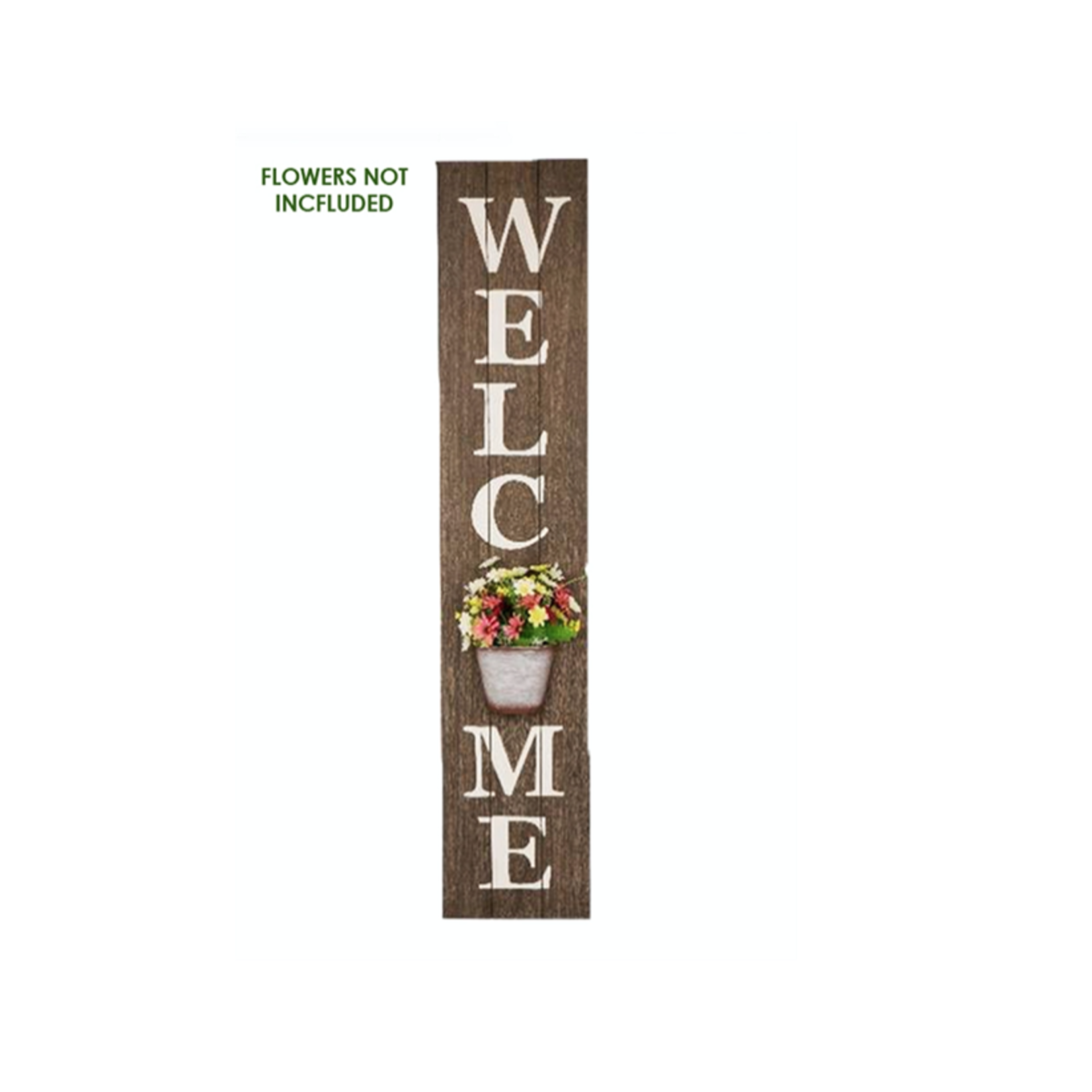 Welcome Sign W/Metal Planter Pot