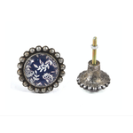 Pewter Knob - Blue/White