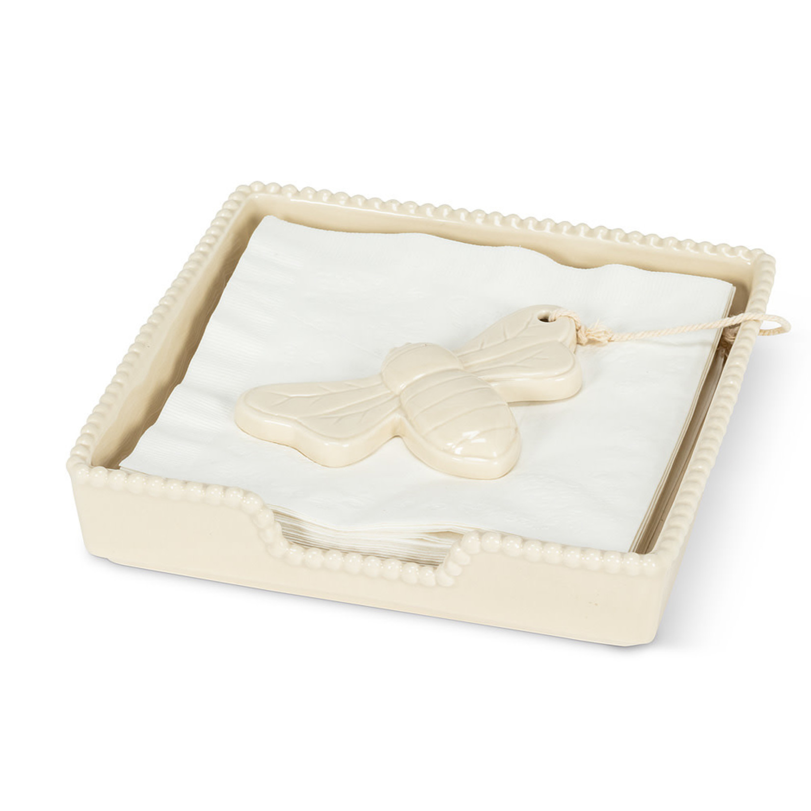 Lg. Ivory Bee Napkin Holder