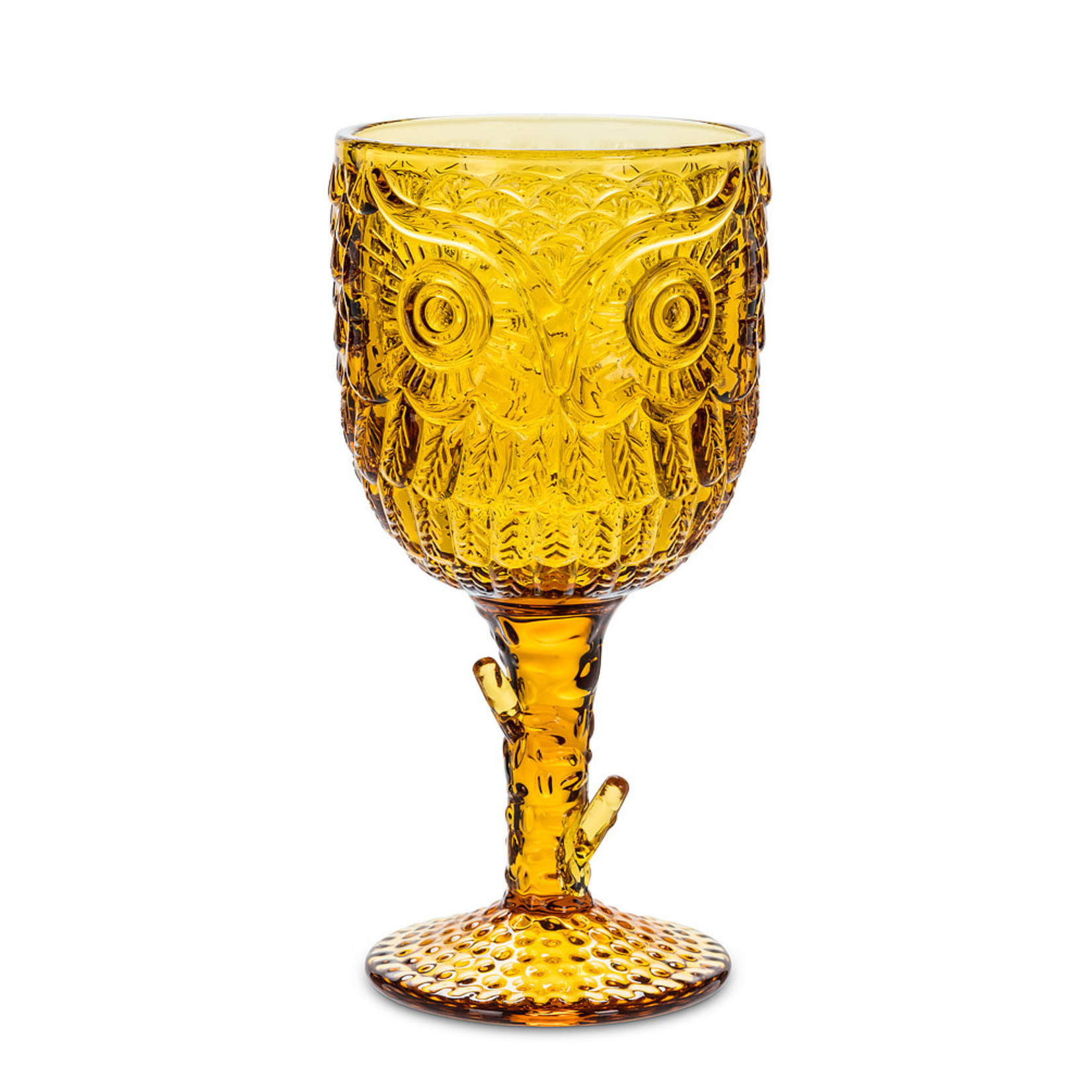 Owl in Tree Goblet - Amber (12oz.)