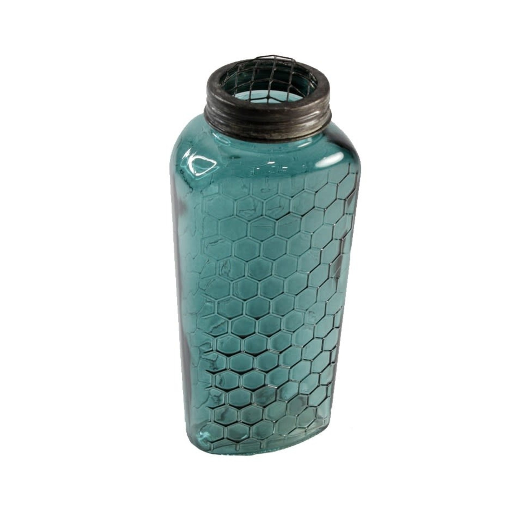 Turquoise Floral Glass Vase