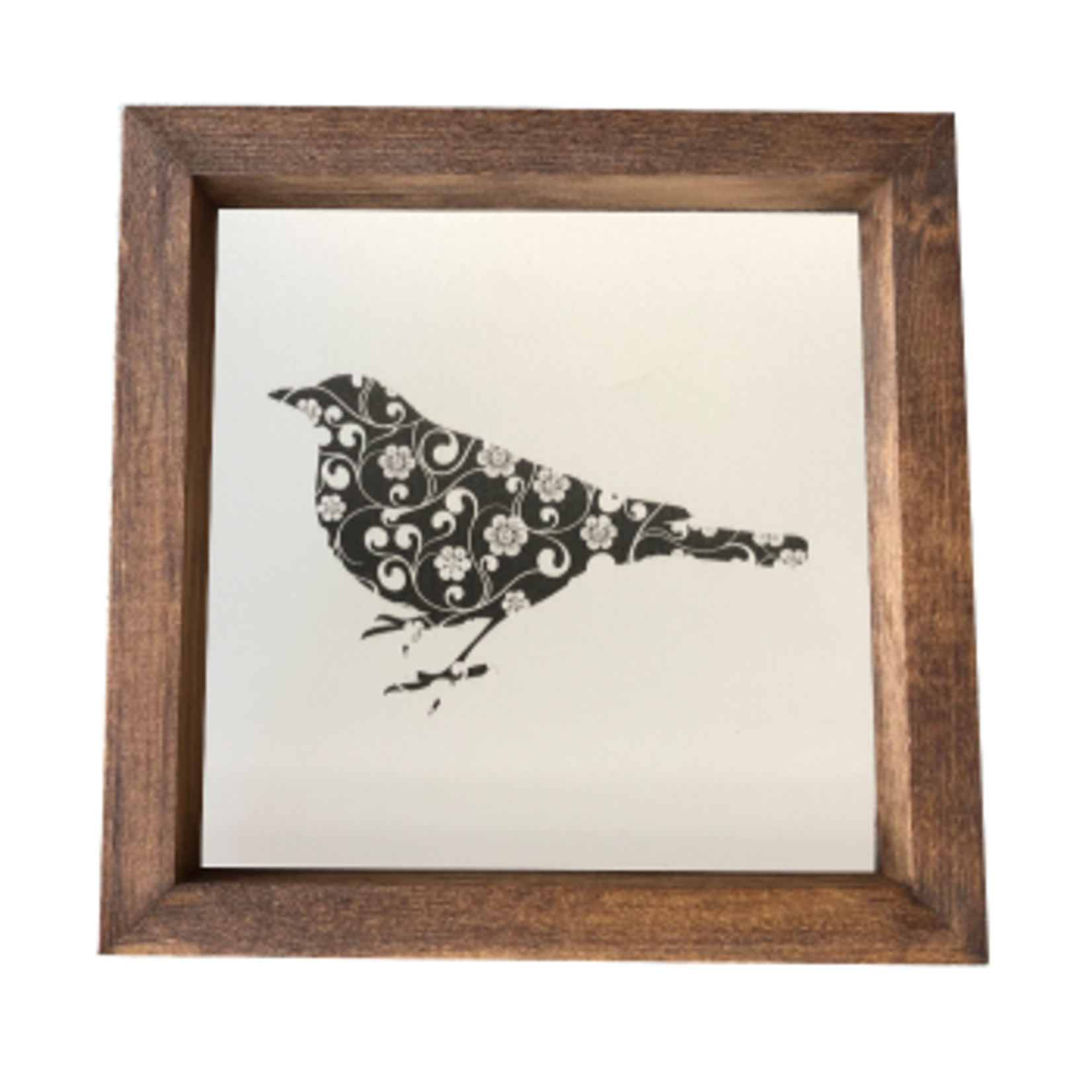 Bird Silouette - Print -  In Stained Box Frame