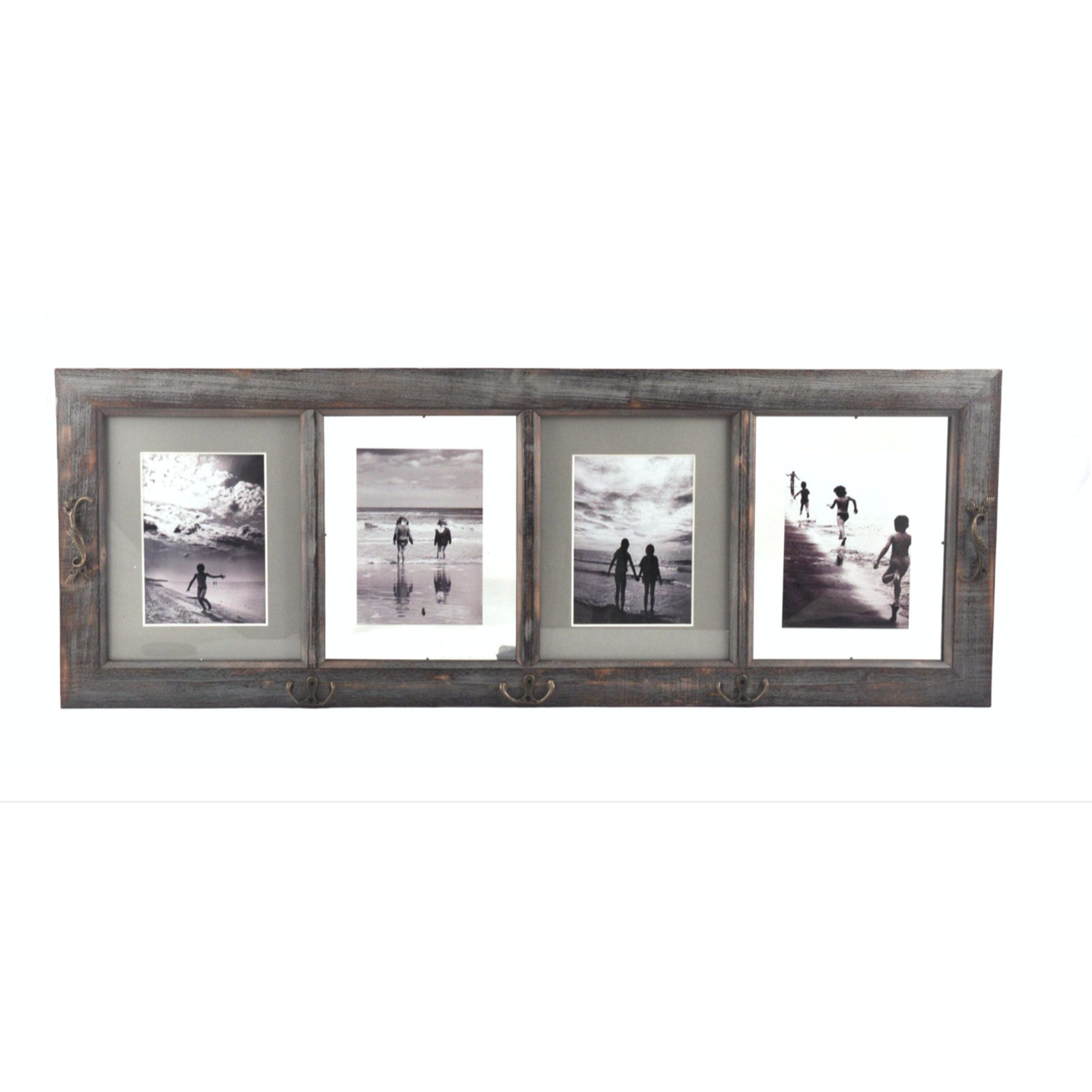 4 Picture Wood Frame w/Hooks