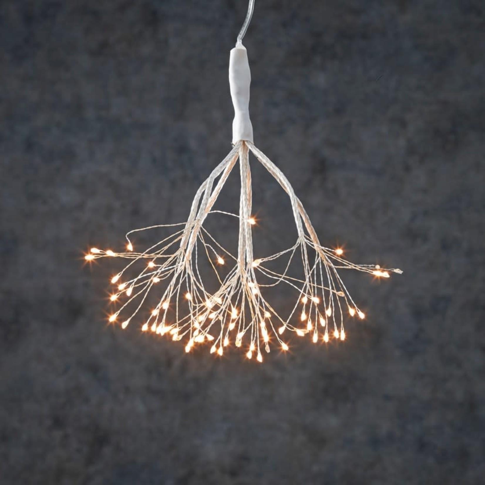 "M - Outdoor LED Twinkling Dandelion B/O on timer 80L Warm White - 8"""