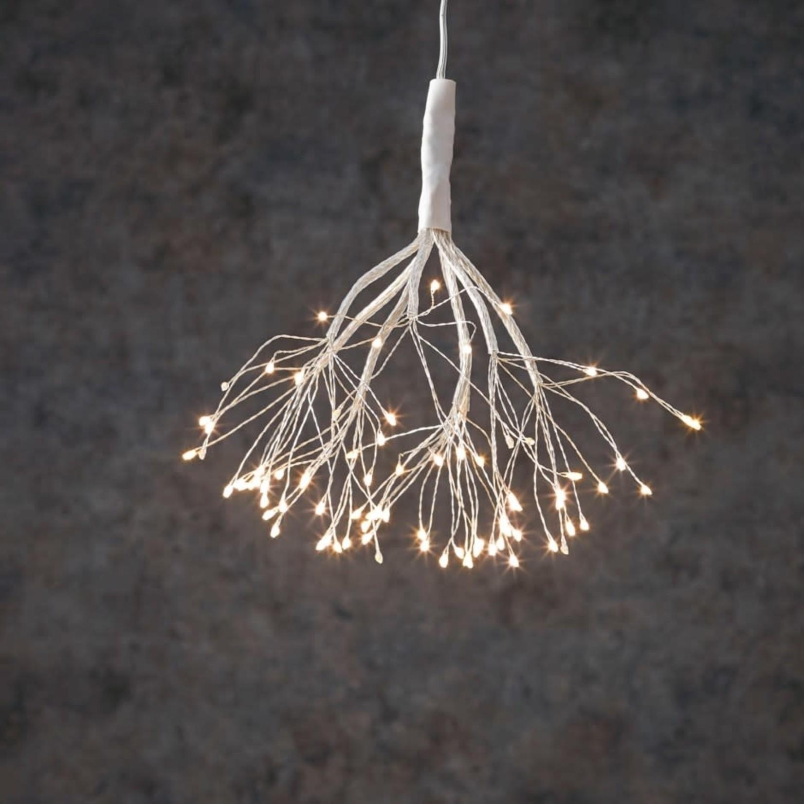 "LED Twinkling Dandelion B/O on timer 80L Classic White - 8"""