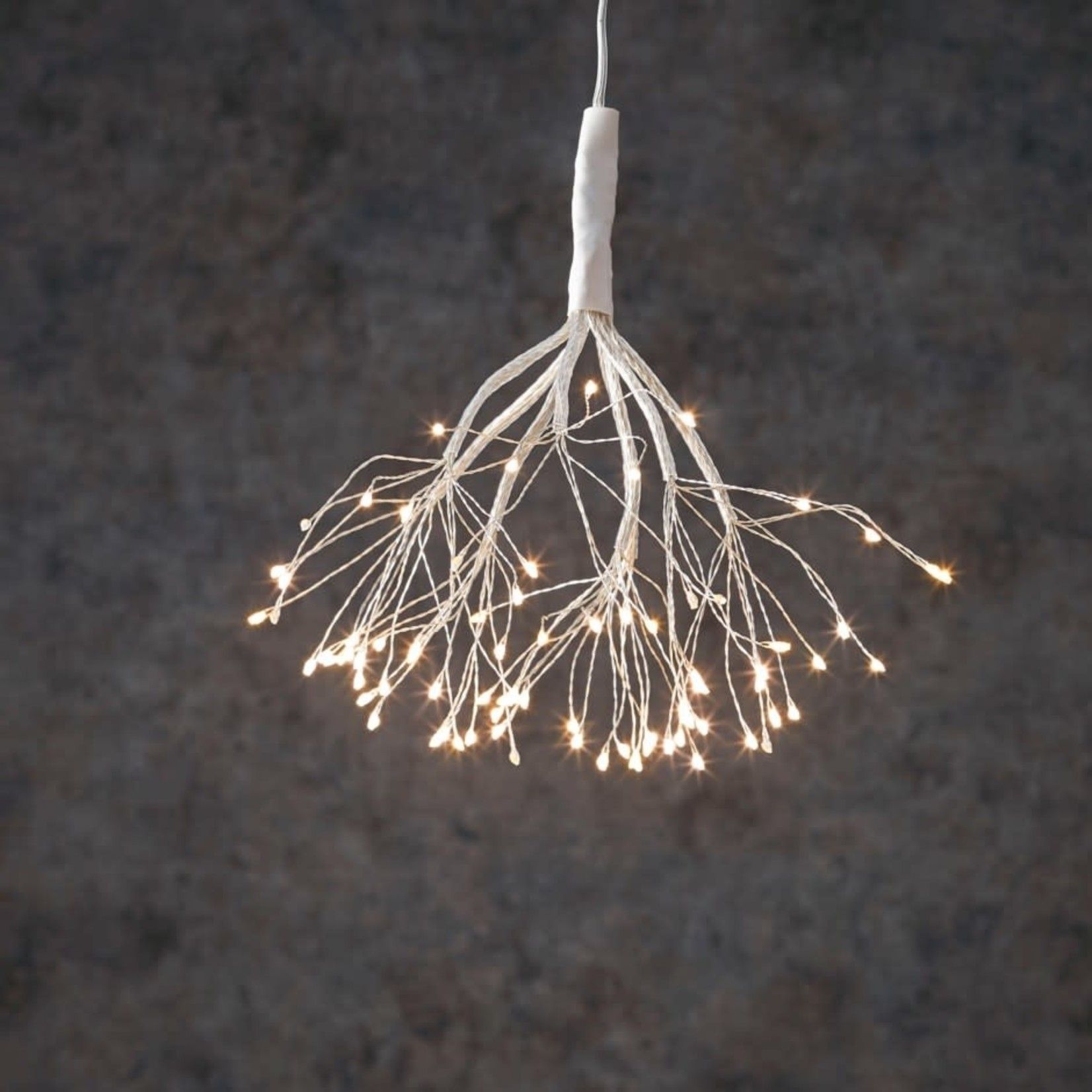 """M - Outdoor LED Twinkling Dandelion B/O on timer 80L Classic White - 8"""""""