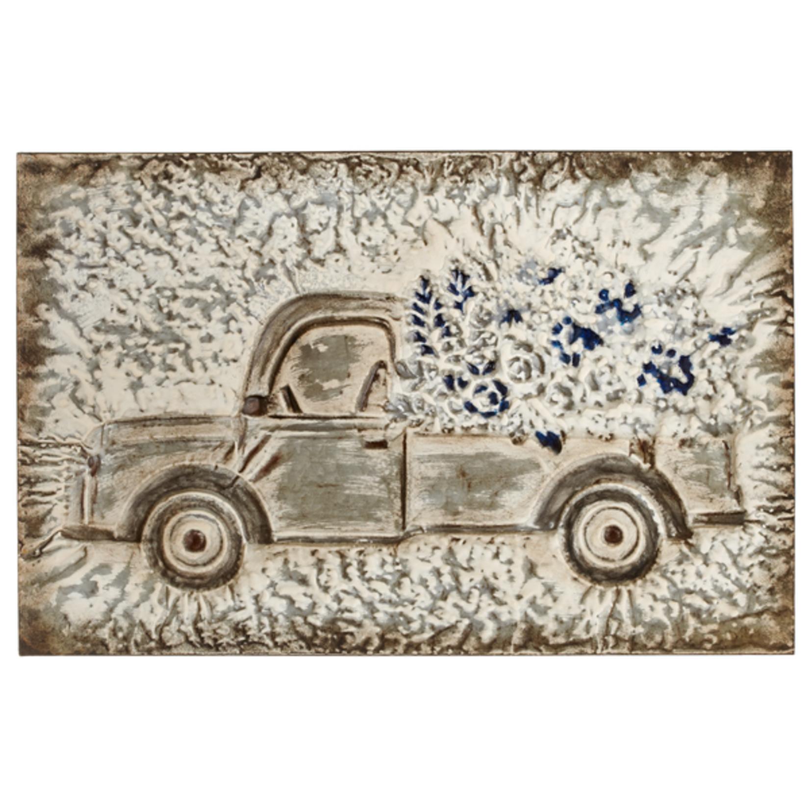 Embossed Truck w/Flowers Wall Decor