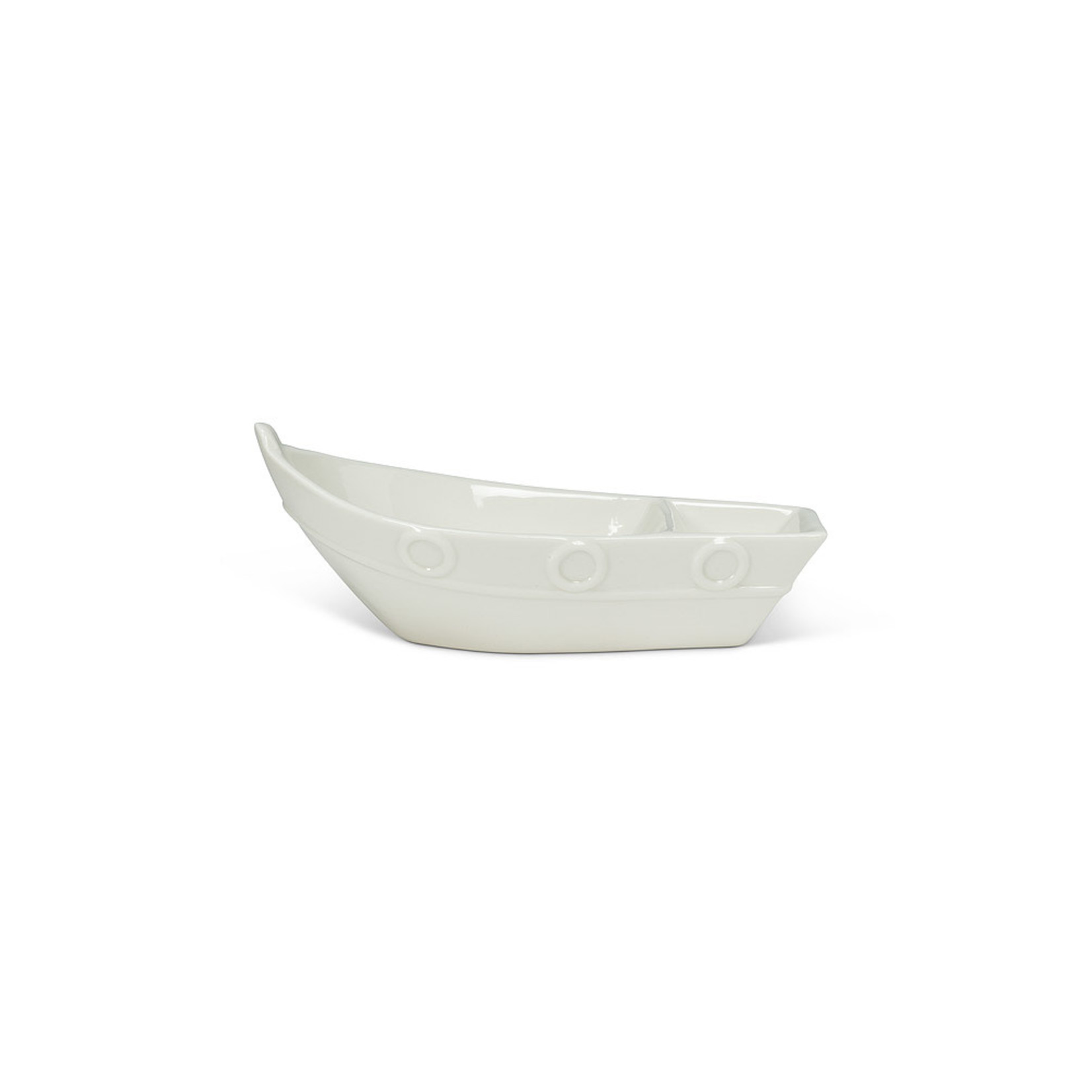 Small Divided Boat Dish - White