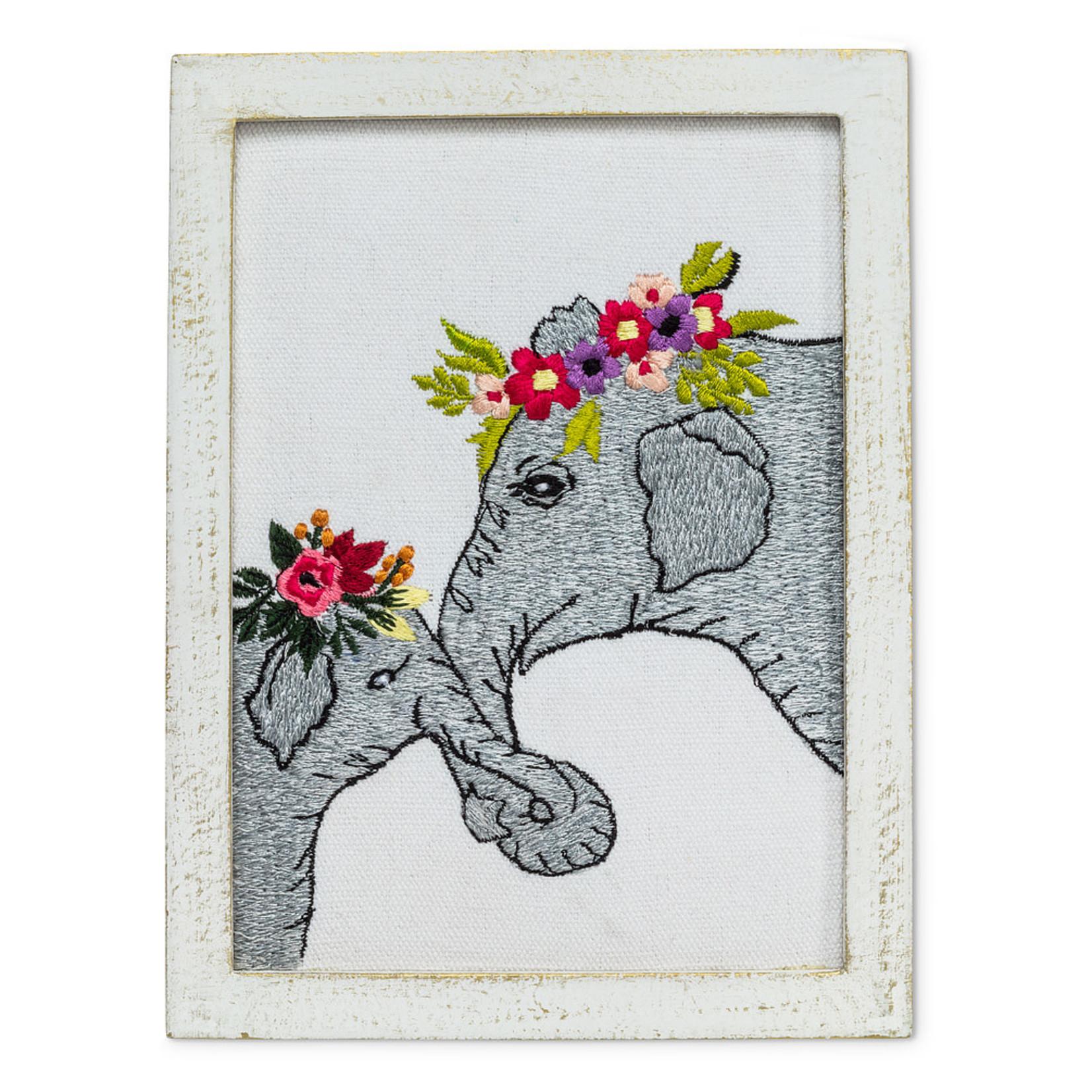 Elephants w/Flowers Wall Art