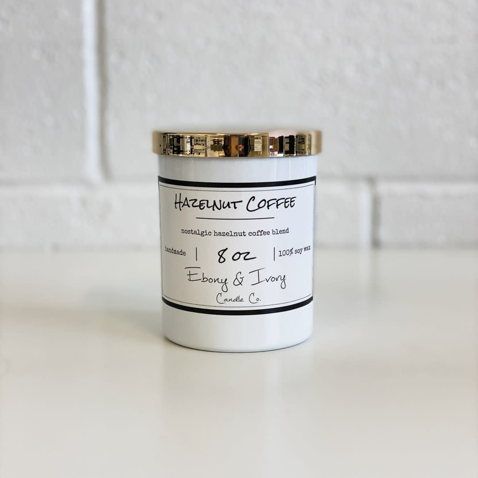 Ebony & Ivory Candle - Hazelnut Coffee