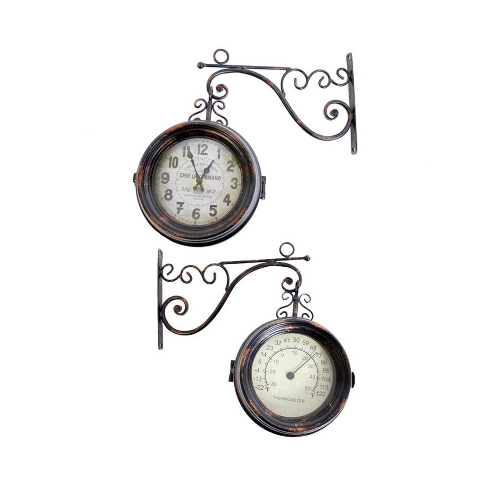 2 Sided Clock/Thermometer