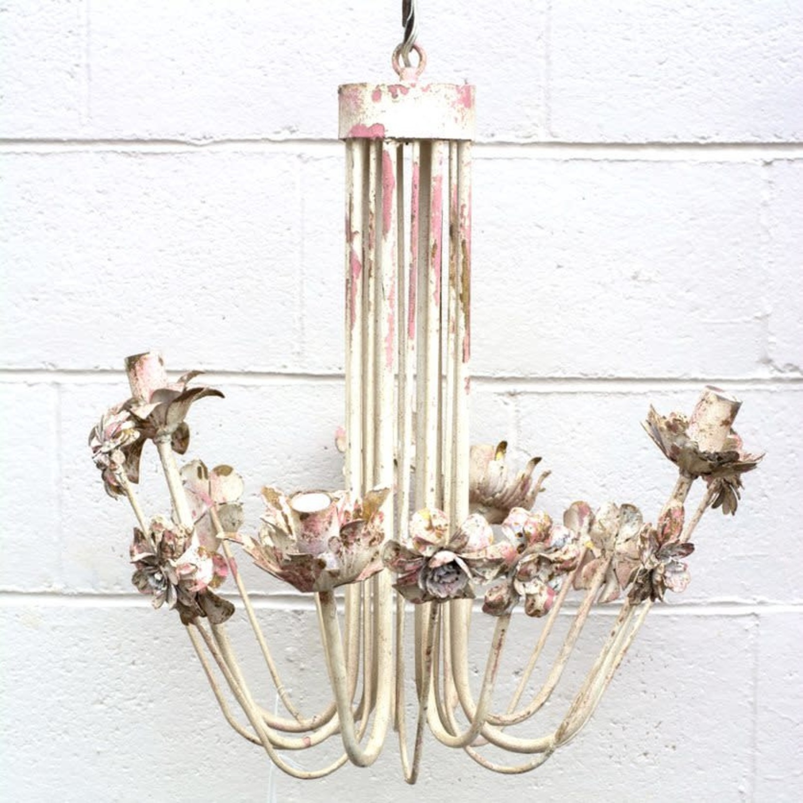 Cream & Pink Chandelier w/Flowers