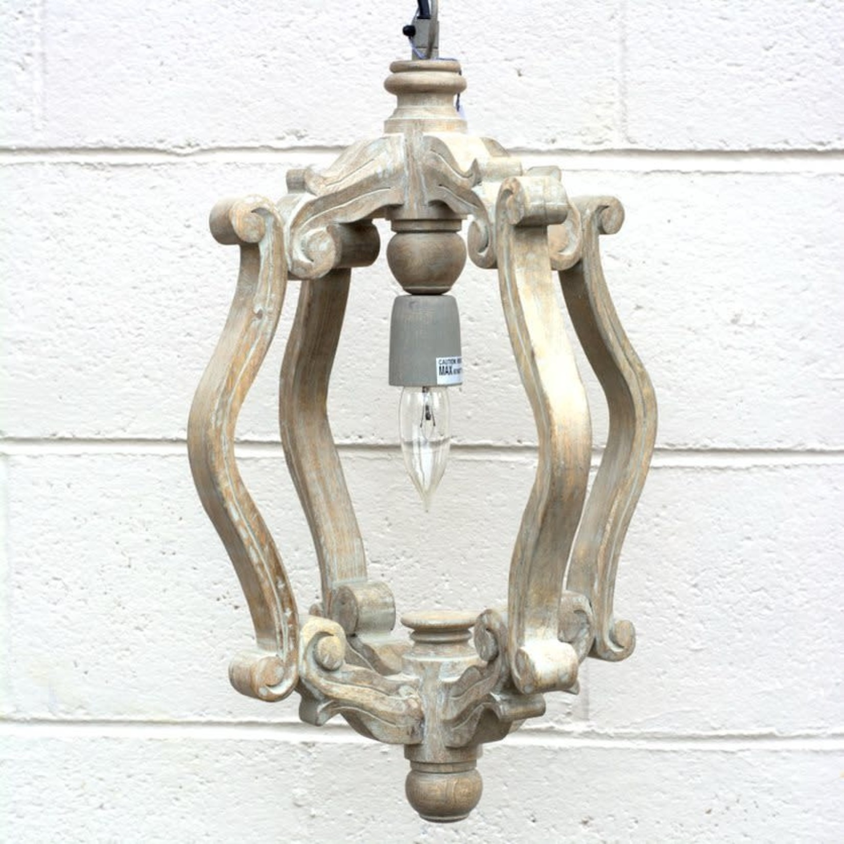 Carved Scroll Pendant Light - Taupe