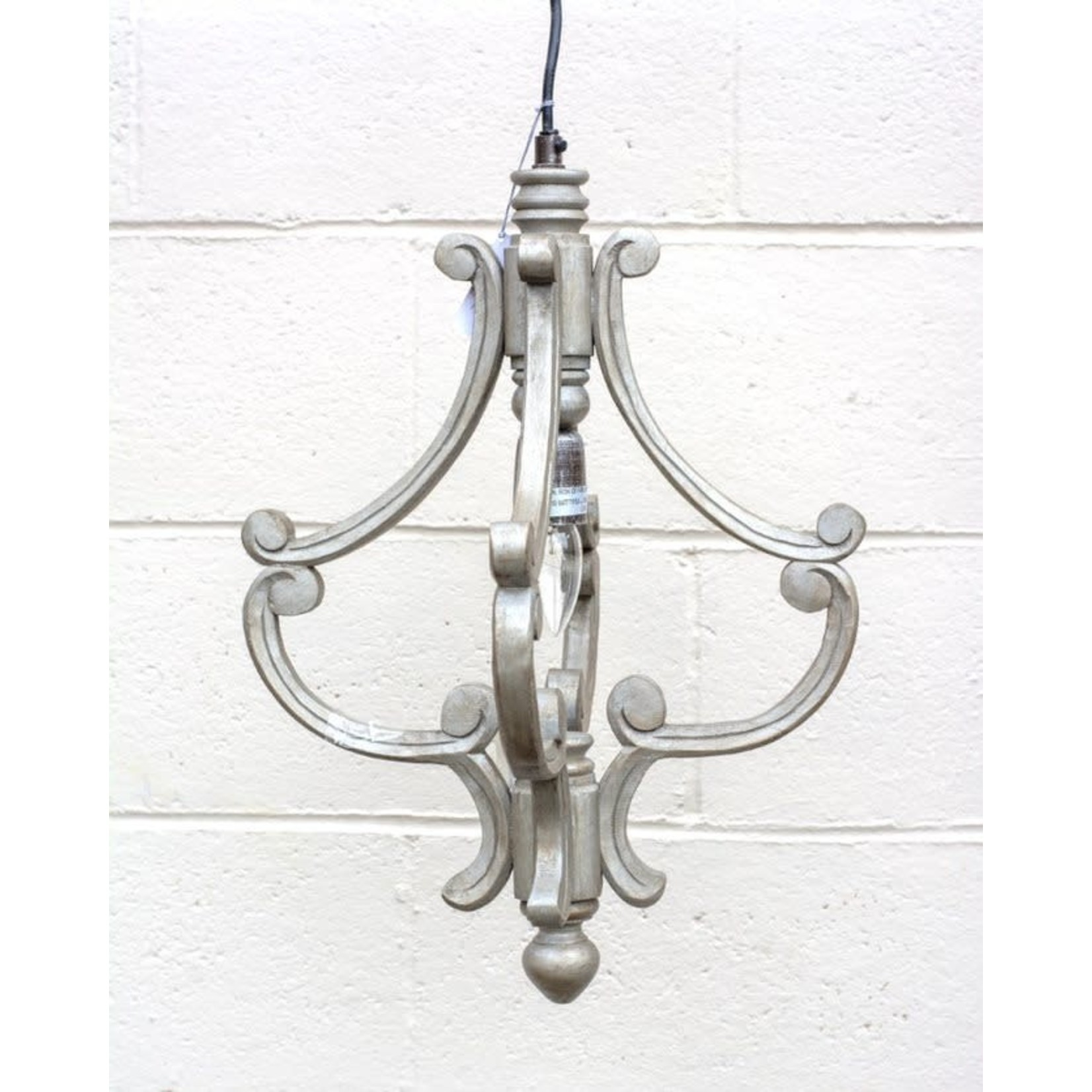 Carved Scroll Pendant Light - Grey