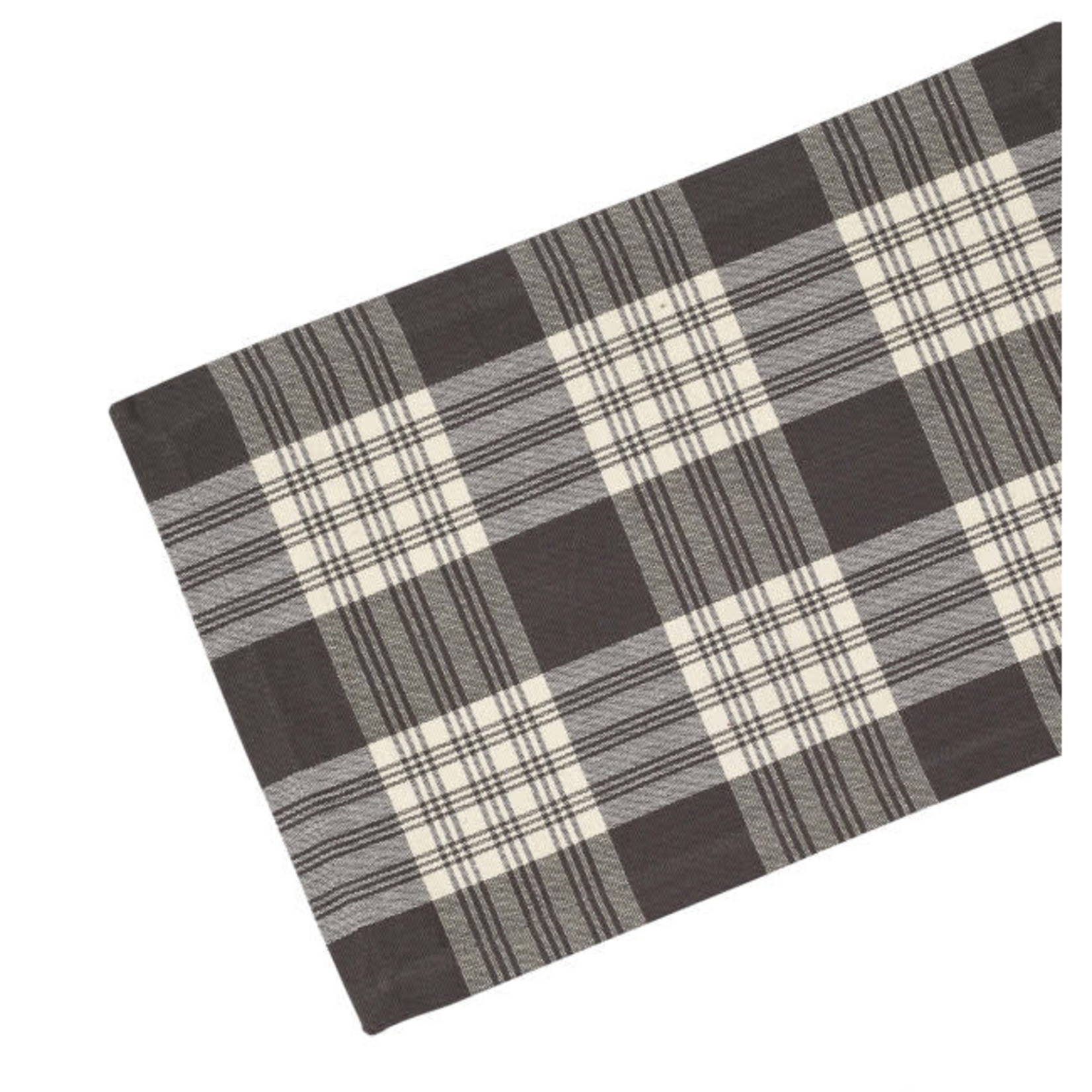 Table Runner Ribbed - Stone Grey Plaid