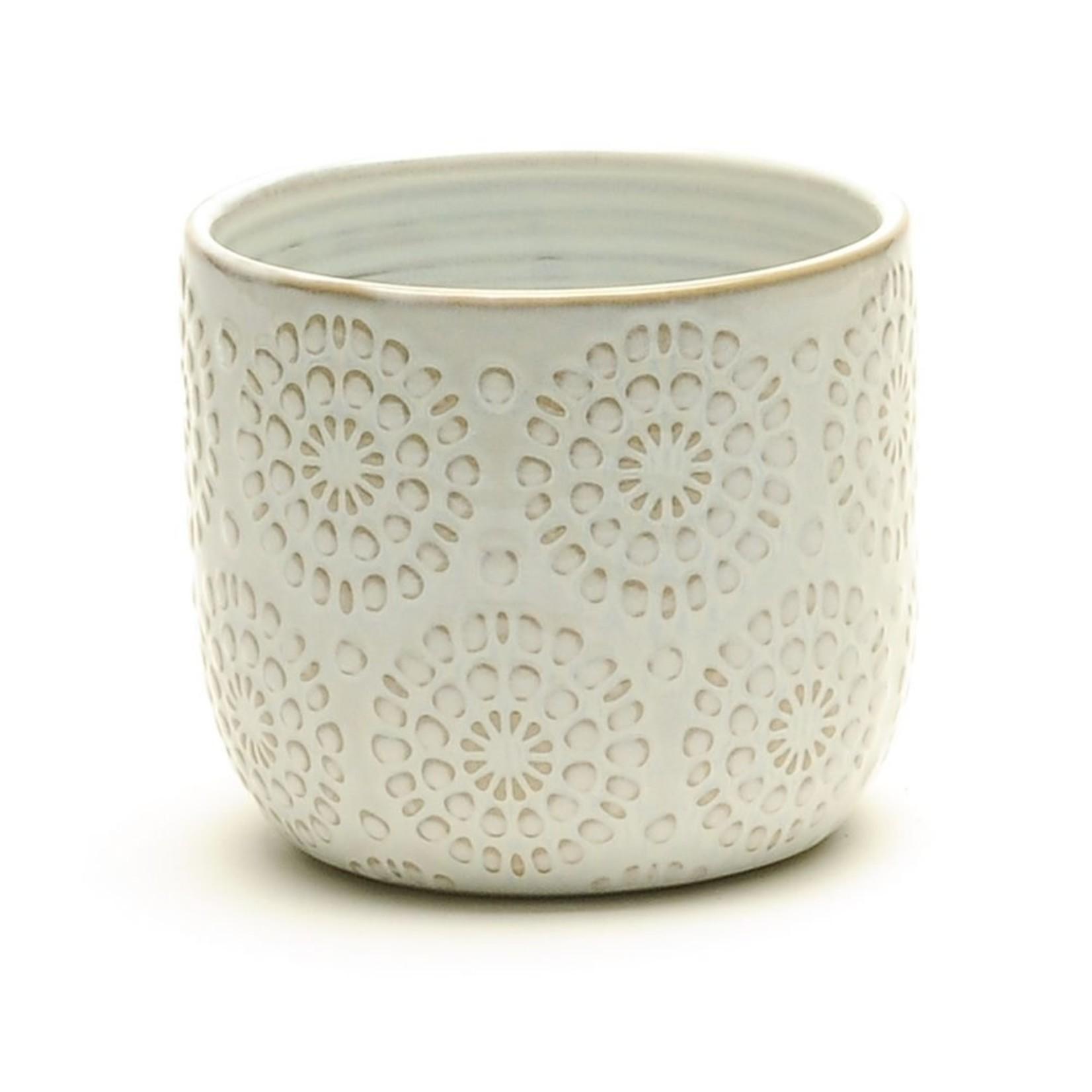 White Embossed Pot - Large