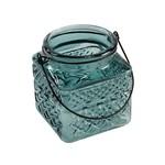 Turquoise Square Glass Jar