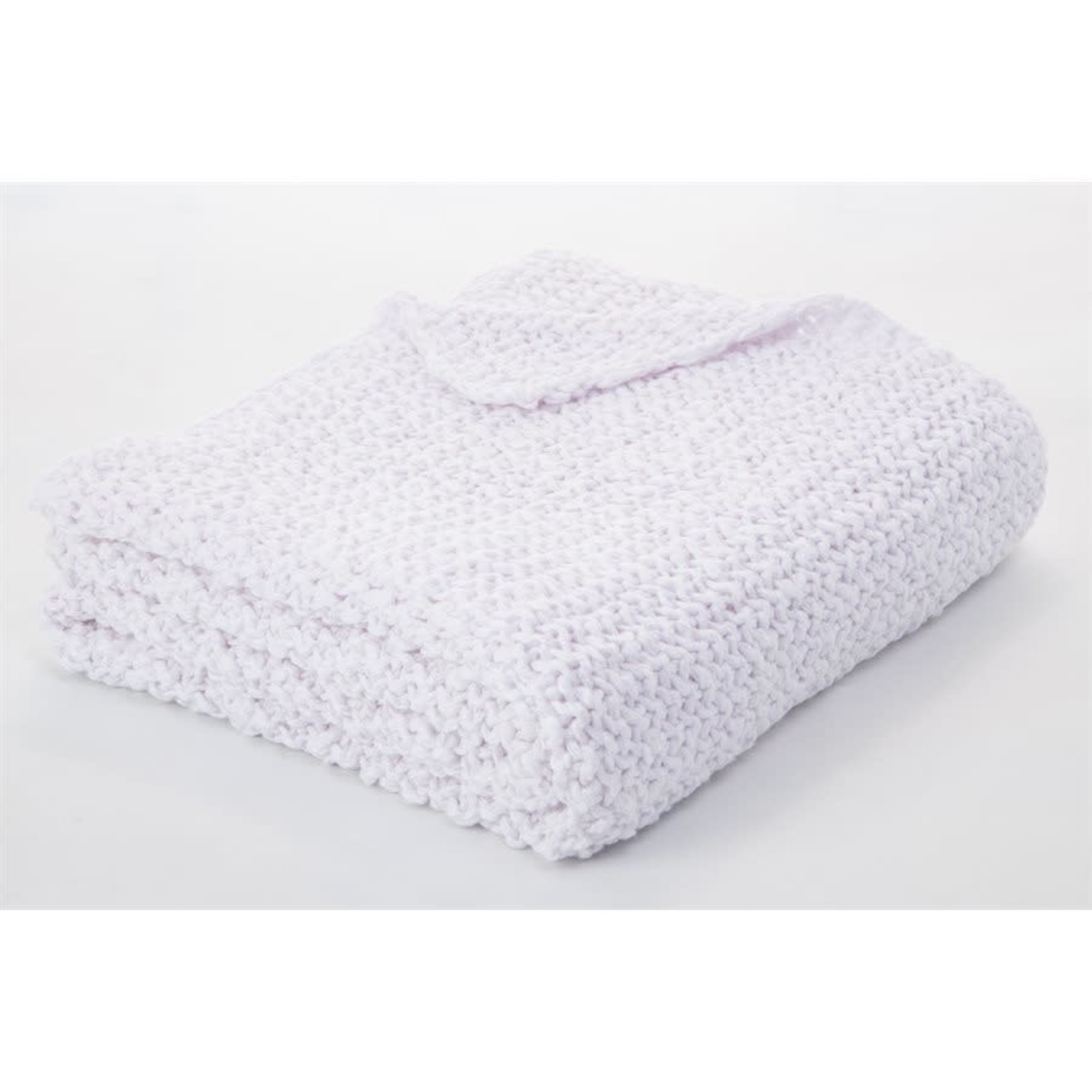 Bulky White Knitted Throw