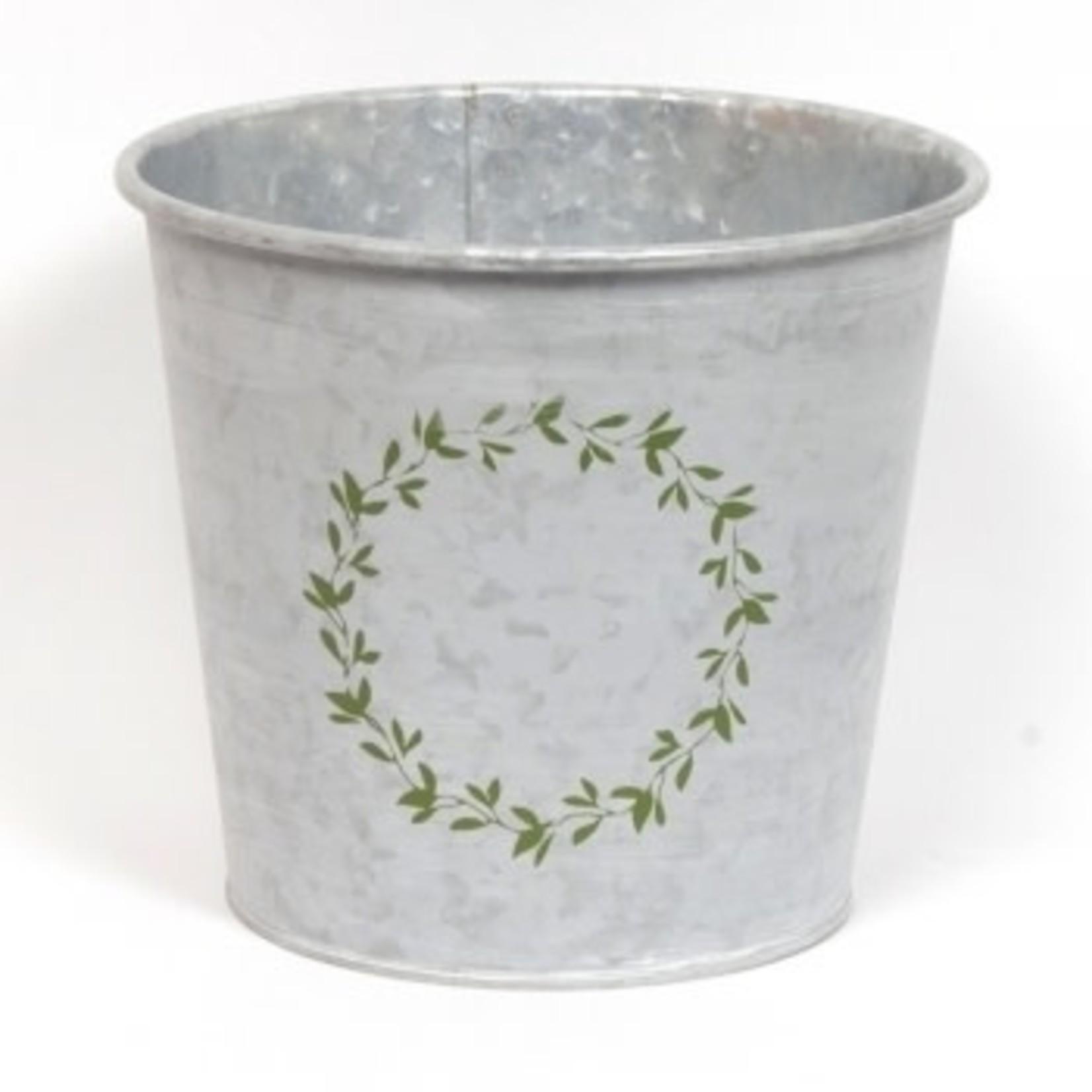 Whitewash Galvanized Wreath Pot - Large