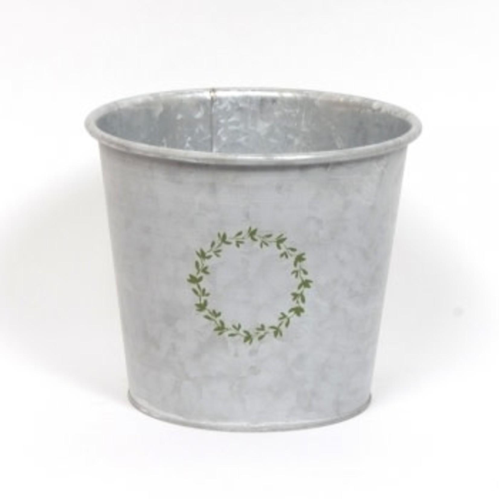 Whitewash Galvanized Wreath Pot - Medium