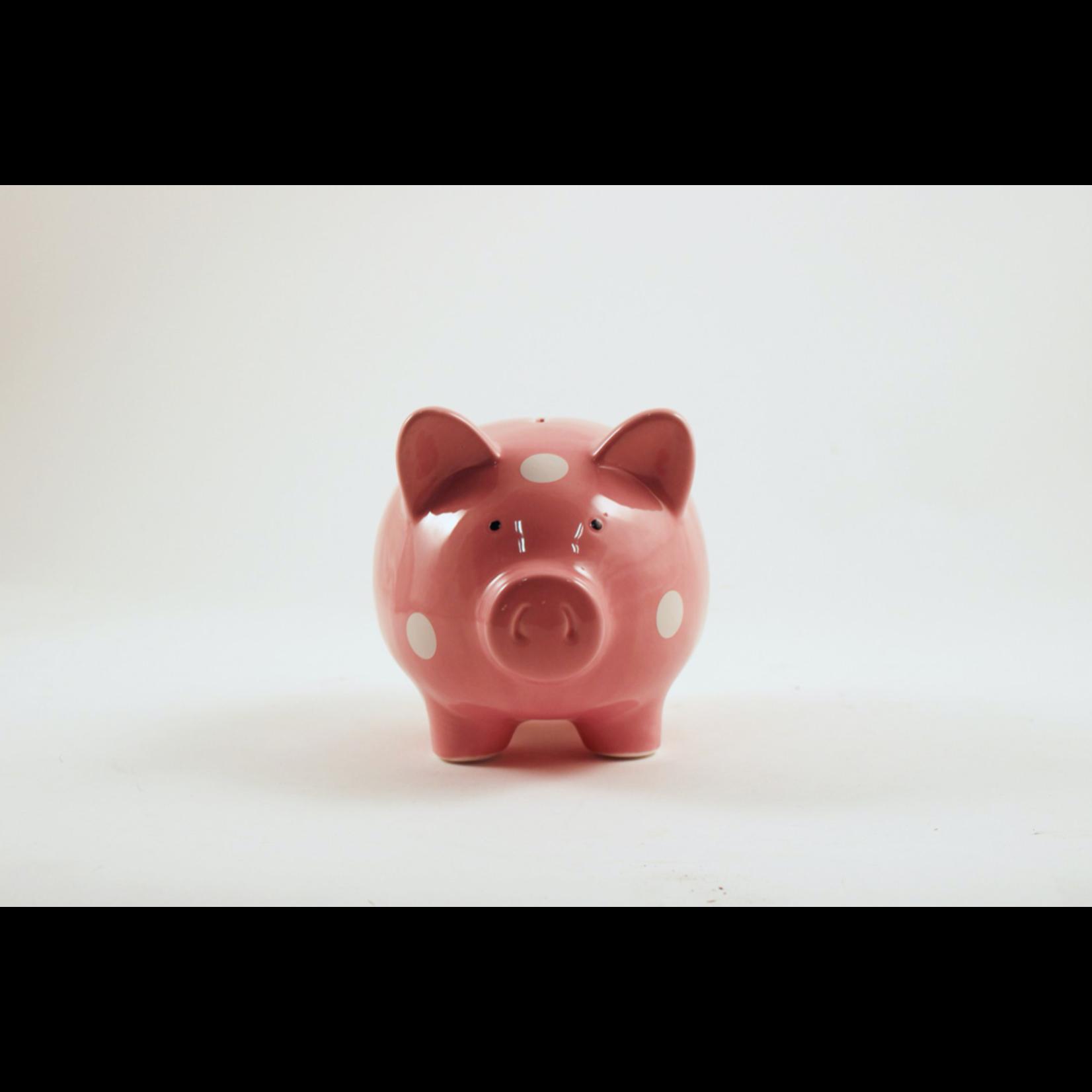 Pink Piggy Bank W/White Polka Dots